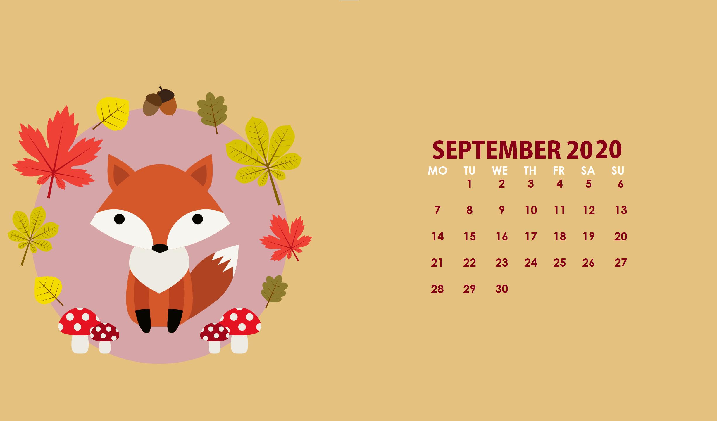 September 2020 Calendar Wallpapers Wallpaper Cave