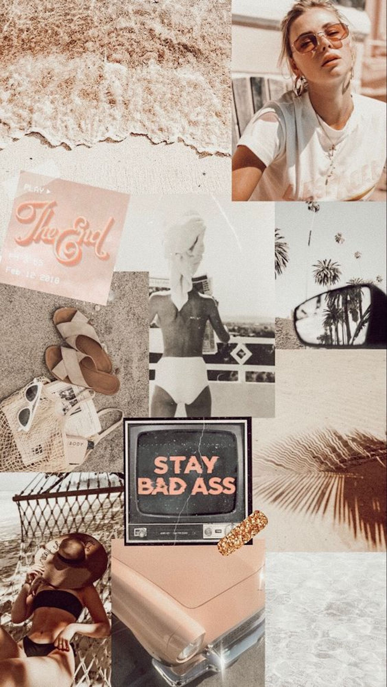 beige collage aesthetic wallpapers
