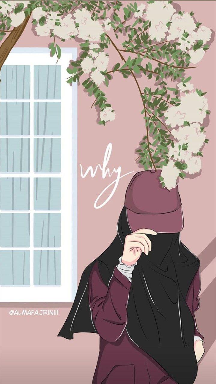 Aesthetic Iphone Hijab Cartoon Wallpaper