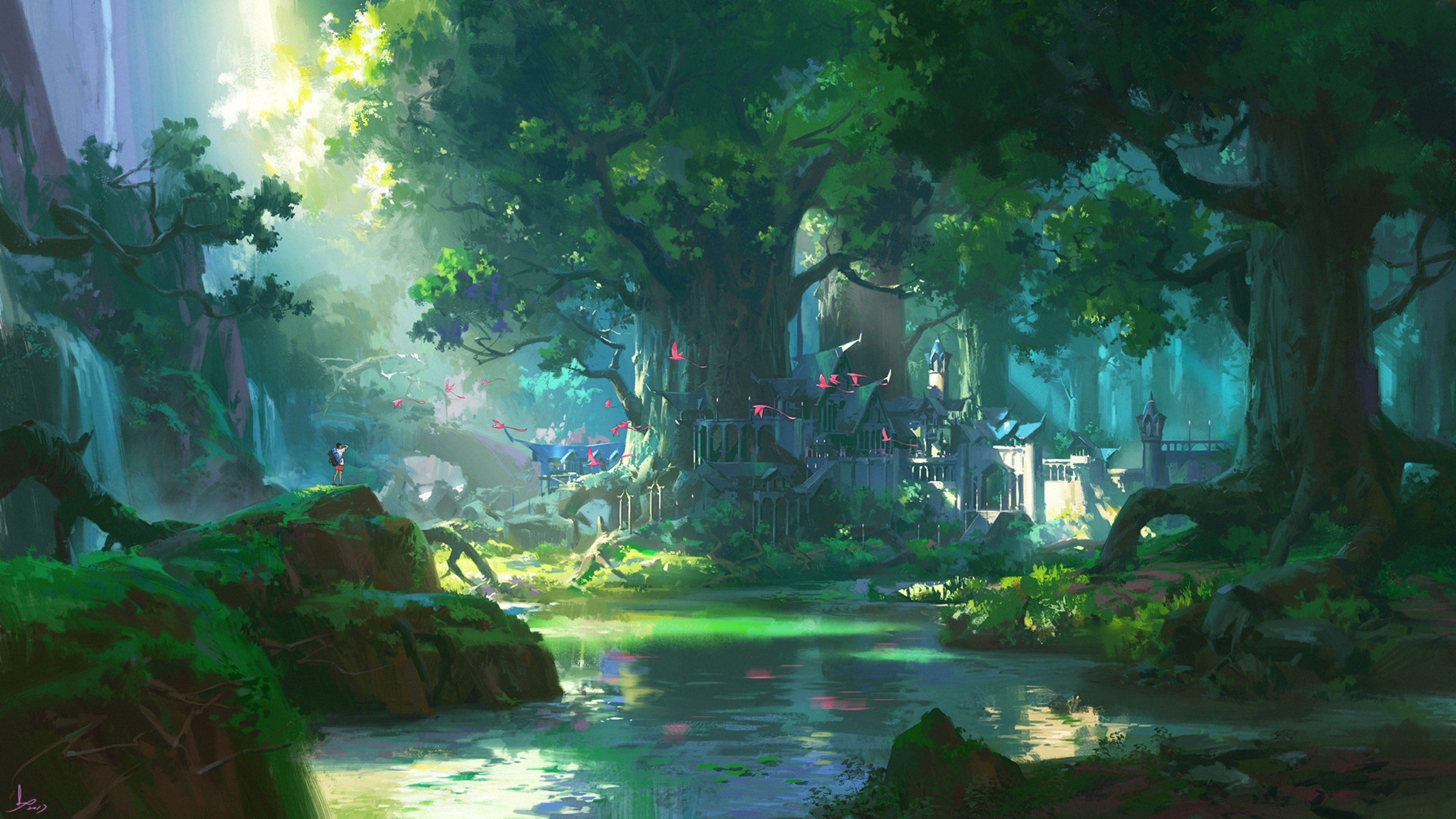 Anime Landscape, Forest, Big Trees, Water, Foliage,