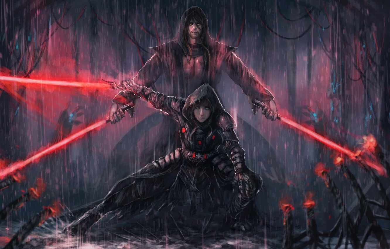 Wallpapers girl, rain, art, star wars, guy, lightsaber, The Sith Lords image for desktop, section фантастика