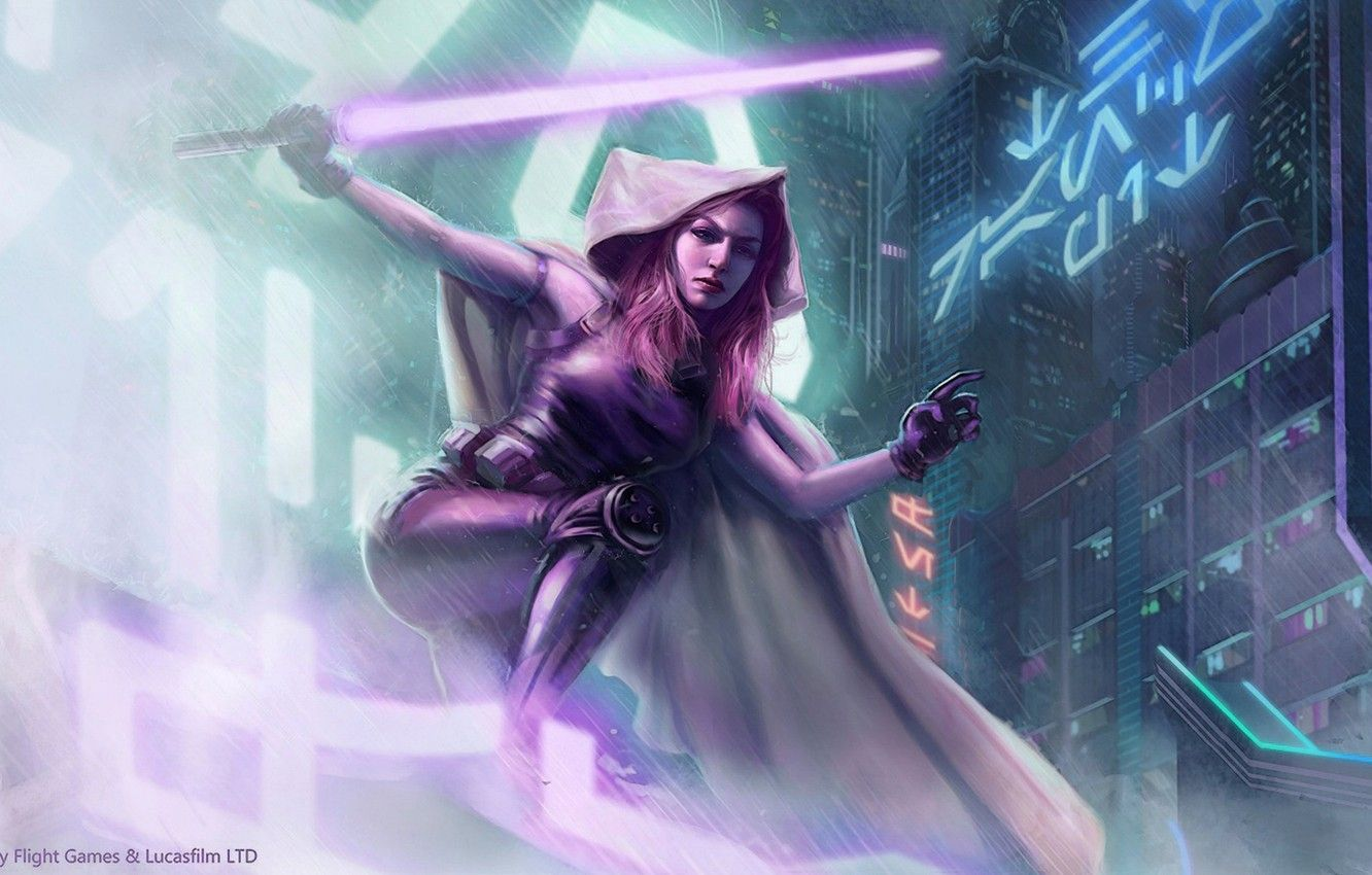 Wallpapers city, Star Wars, girl, rain, red hair, purple, Mara Jade, lighsaber, dark jedi, hand of emperor image for desktop, section фантастика
