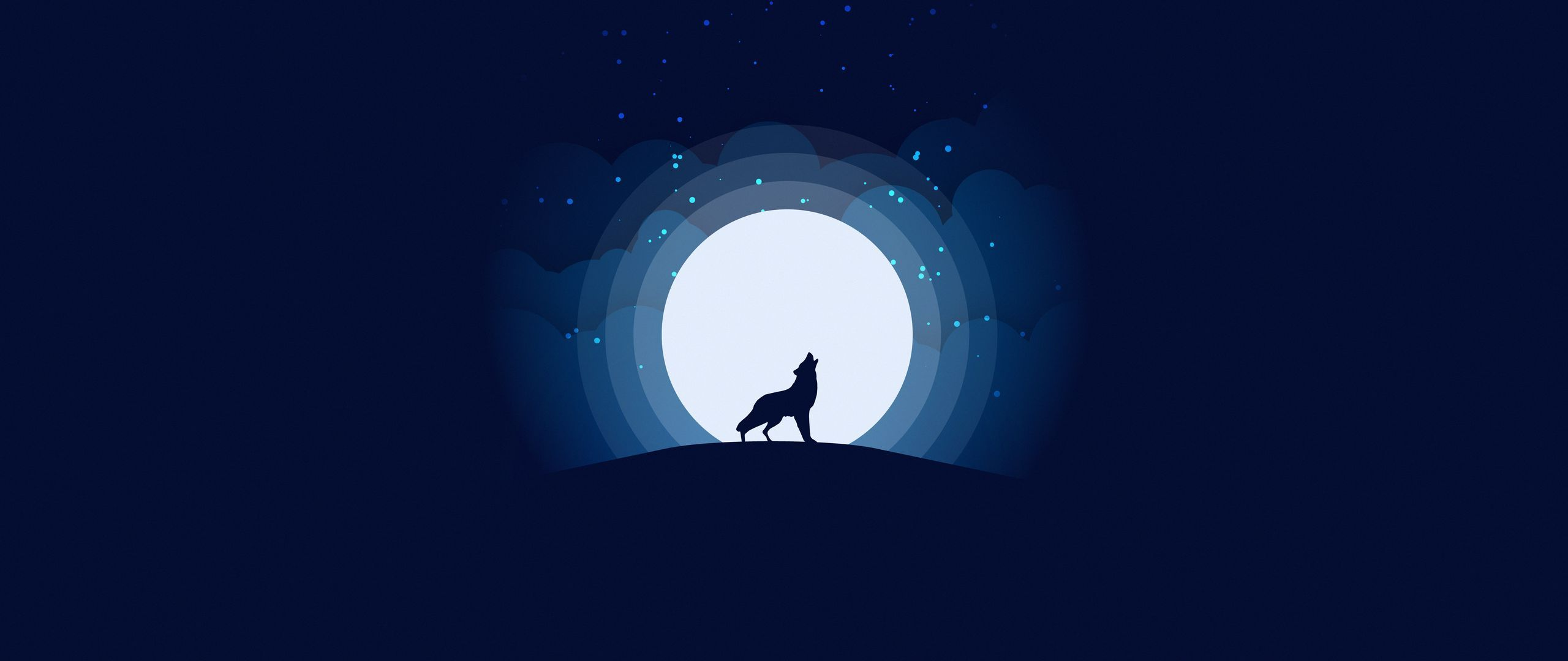 Download wallpapers 2560x1080 wolf, moon, howling, art, vector dual wide 1080p hd backgrounds