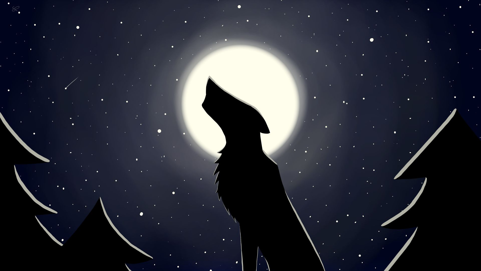 Desktop wallpapers wolf, moon, minimal, starry night, digital art, hd image, picture, background, 4aa612