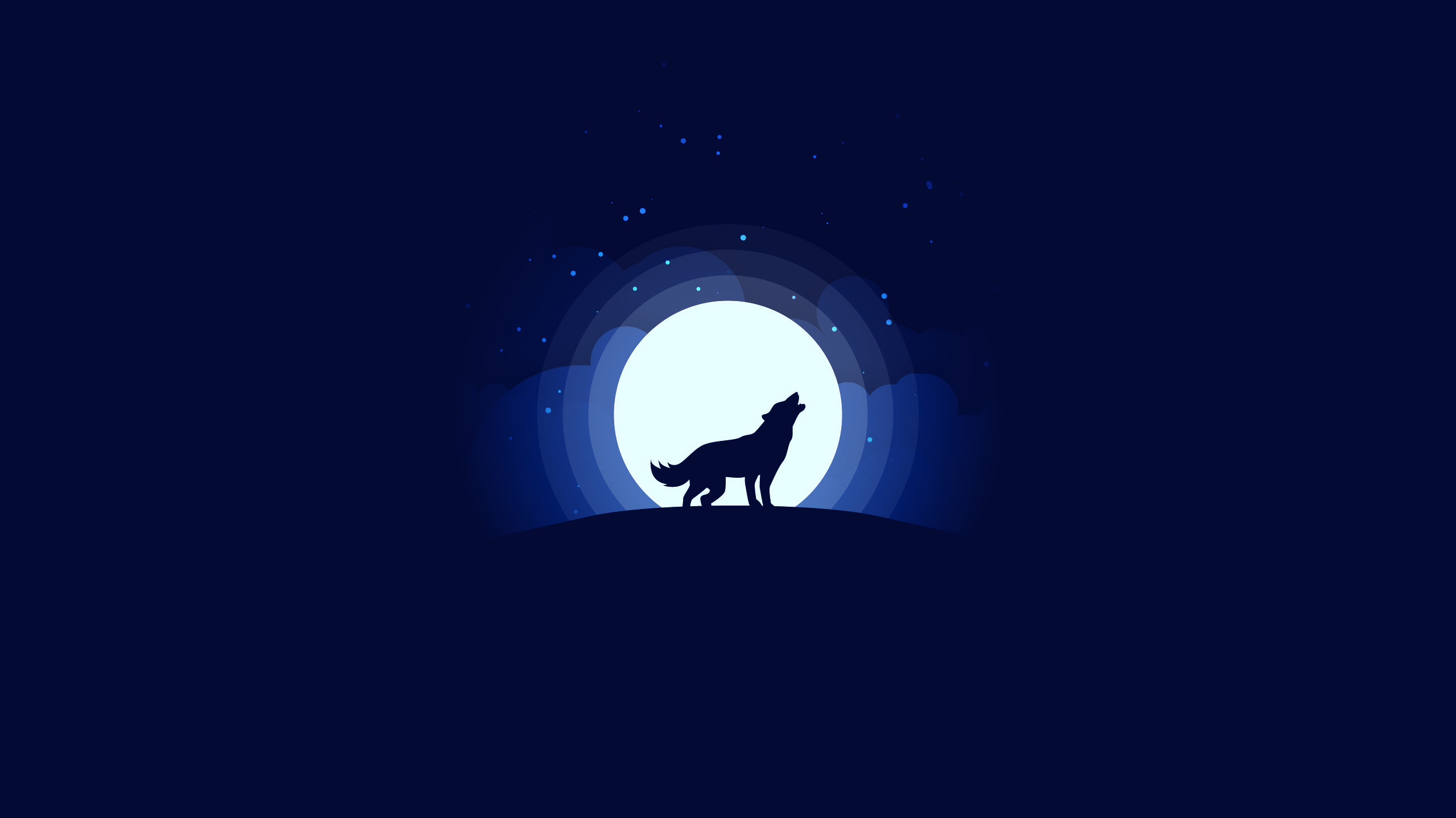 artwork, minimalism, simple background, wolf, Moon, moonlight, clouds, stars, night