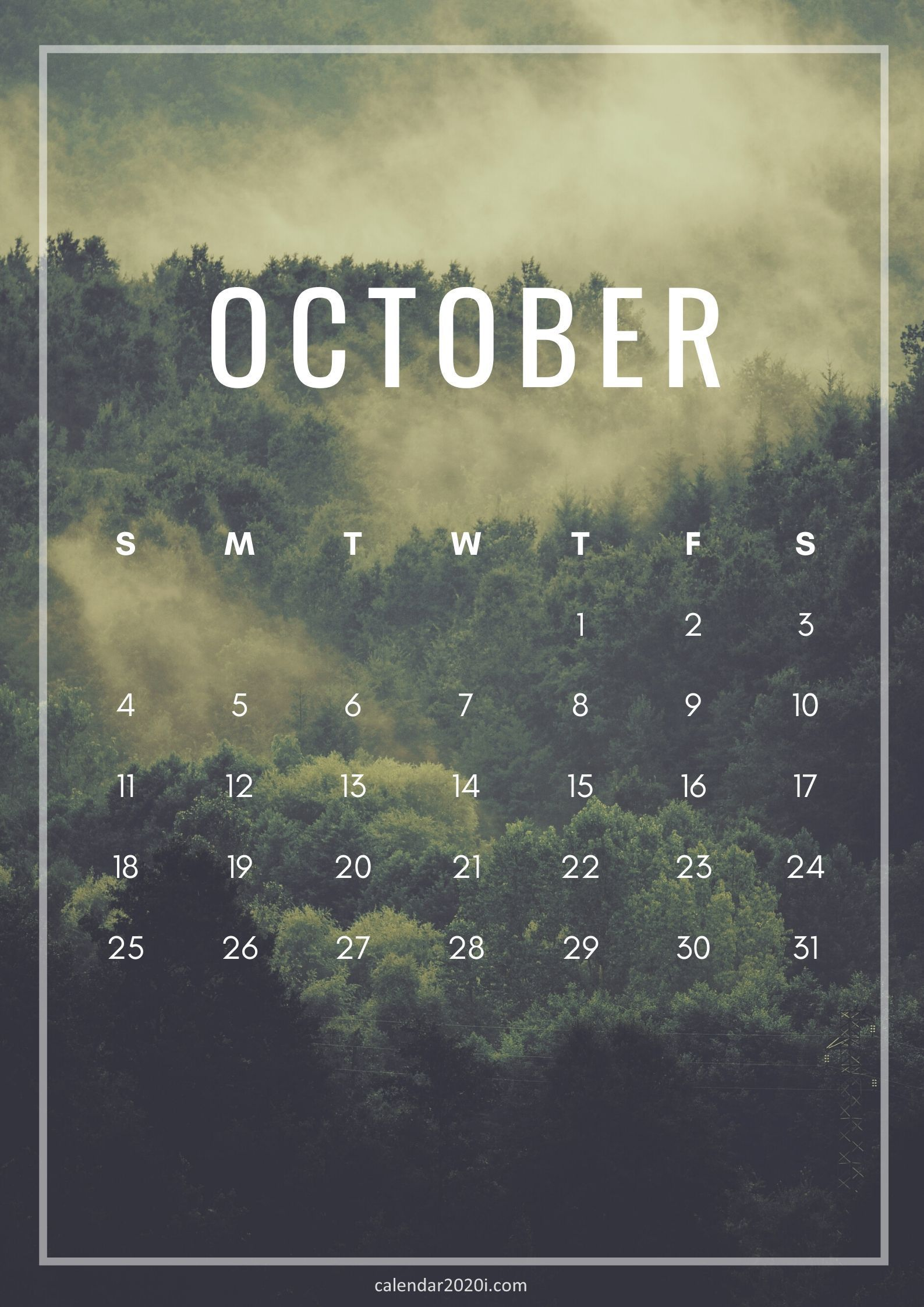 October 2020 Calendar Wallpapers Wallpaper Cave