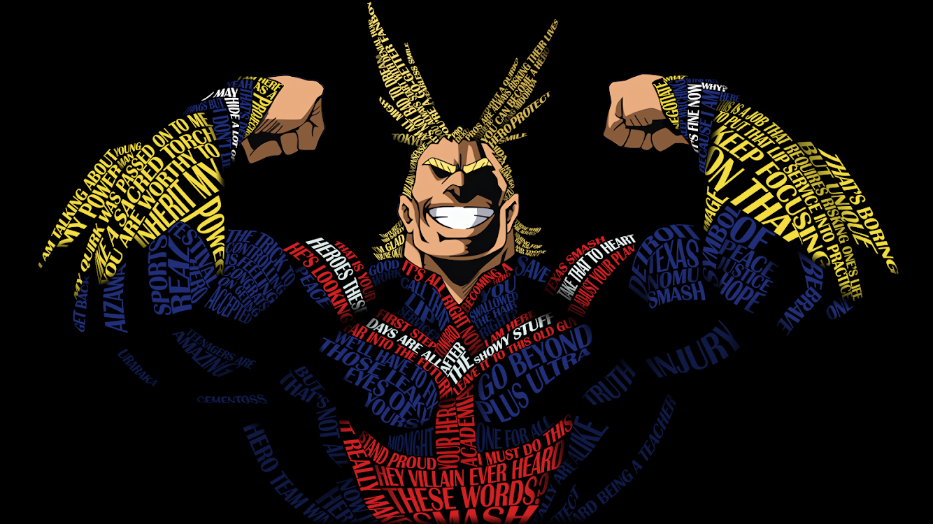 All Might wallpapers constructed with Season 1/2 quotes! : BokuNoHeroAcademia