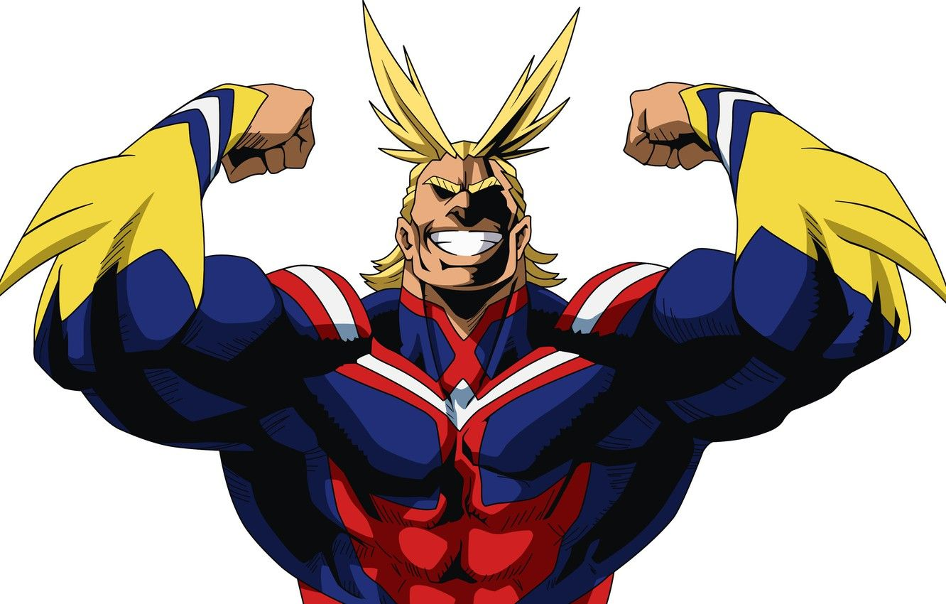Wallpapers smile, anime, blonde, hero, pose, manga, powerful, strong, uniform, yuusha, seifuku, super hero, Boku no Hero Academy, My Hero Academia, Toshinori Of Yak, All Might image for desktop, section сёнэн