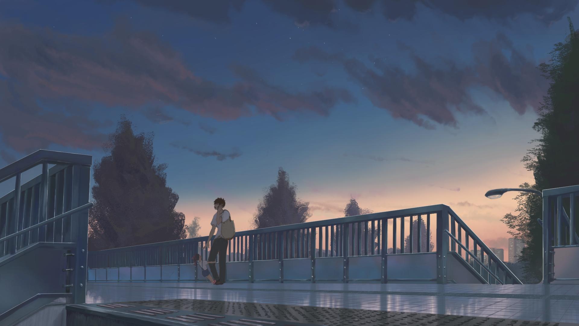 blue anime aesthetic horizontal wallpapers