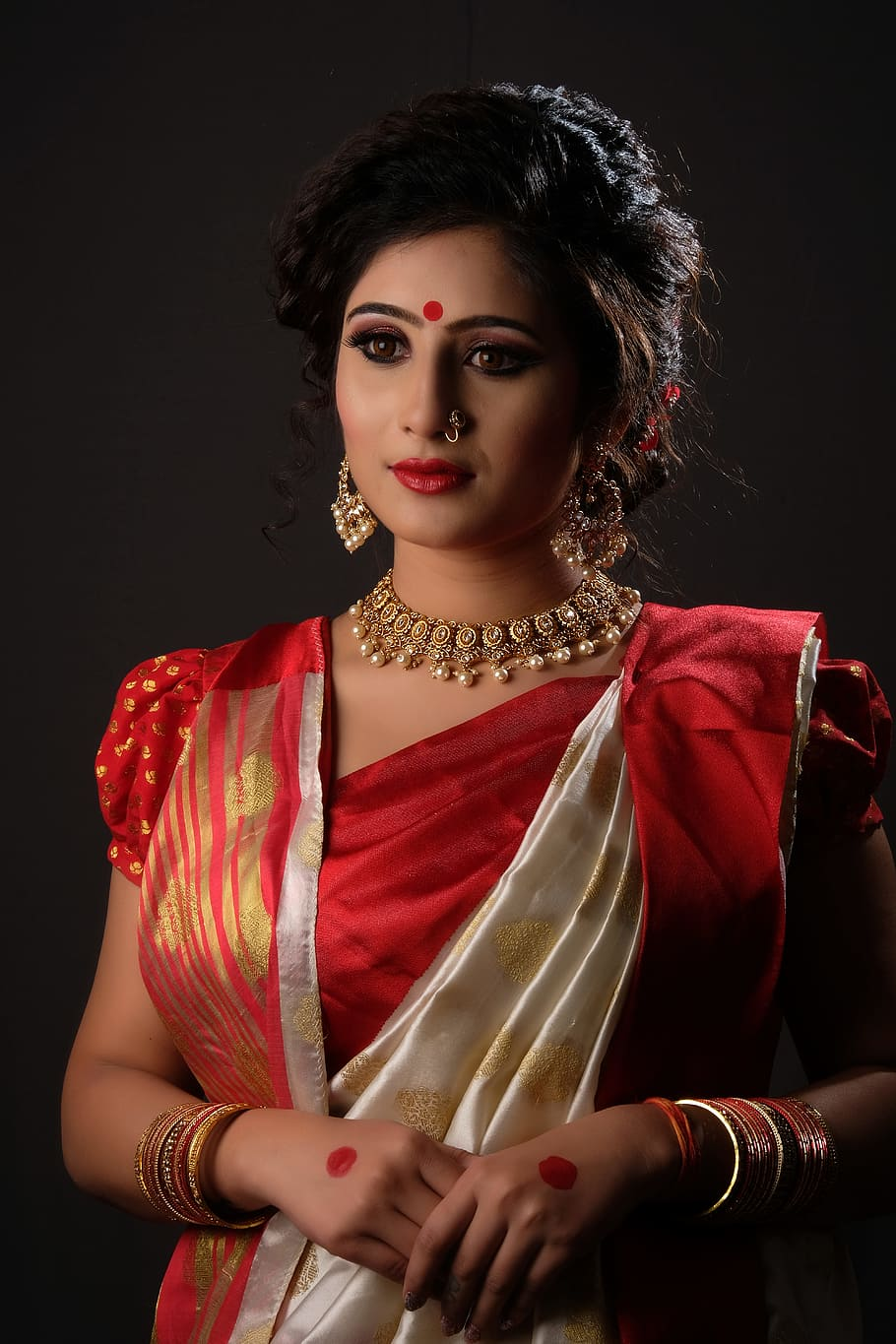 Beautiful Girl In Red Saree