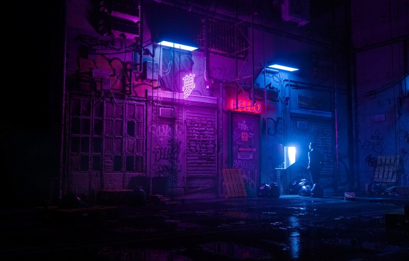 Wallpapers Night, People, Style, Render, Style, Neon, Illustration, Synth, Signs, Retrowave, Synthwave, New Retro Wave, Futuresynth, Sintav, Retrouve, Skiegraphic Studio image for desktop, section рендеринг