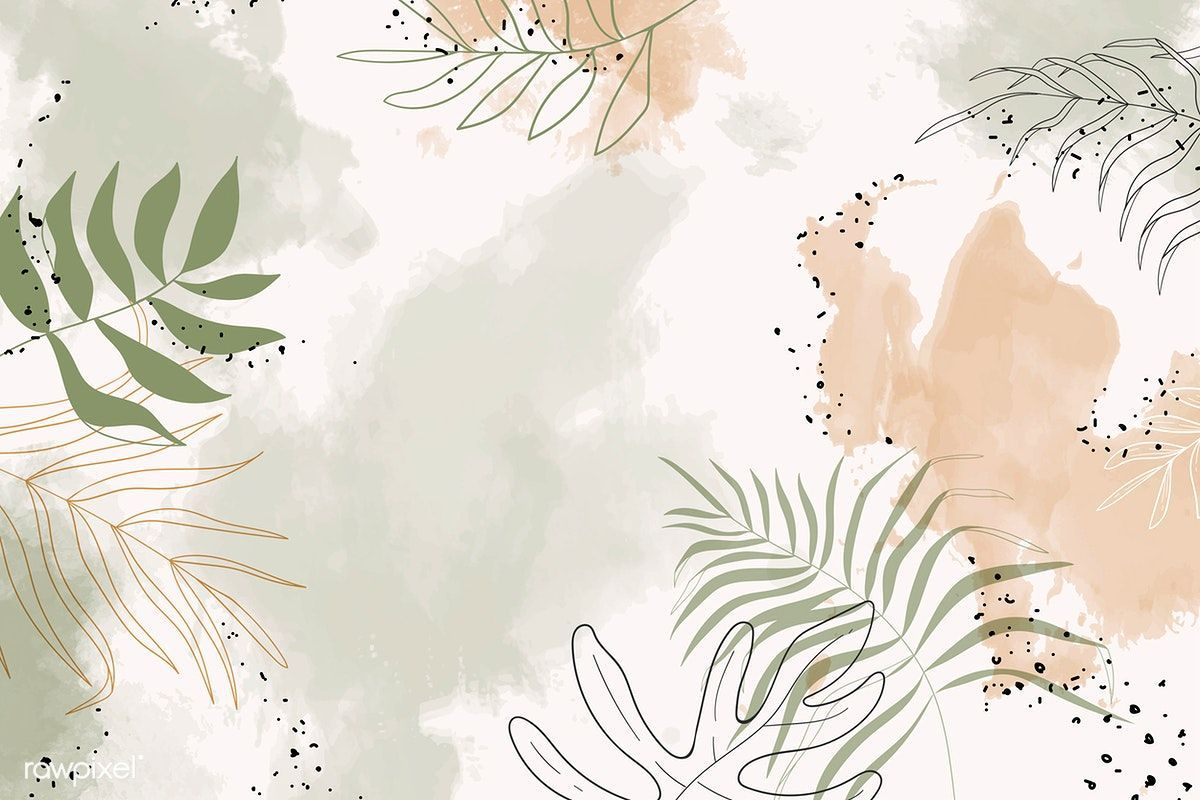 Download premium vector of Beige leafy watercolor backgrounds vector 1222773