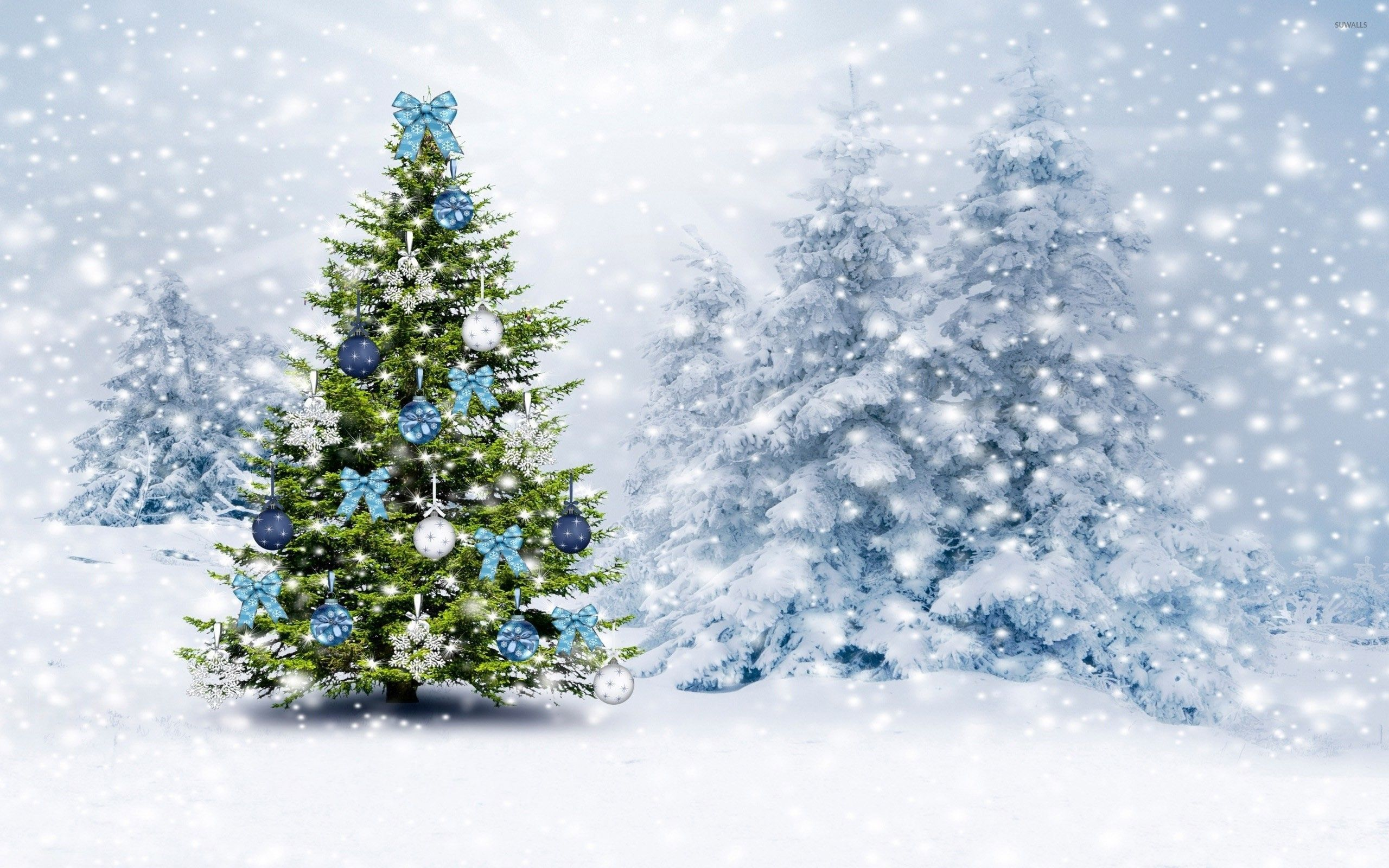 Snowy Christmas Trees Wallpapers Wallpaper Cave