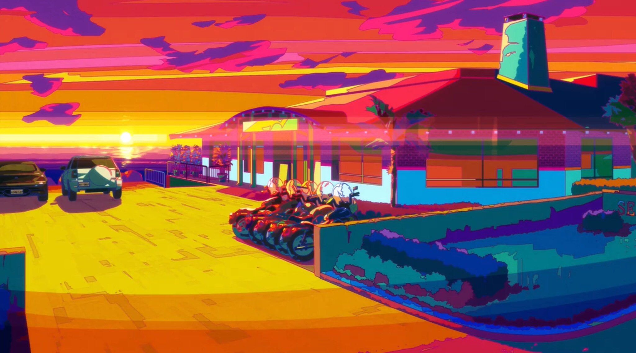 Great Pretender has some pretty Outrun backgrounds. : outrun
