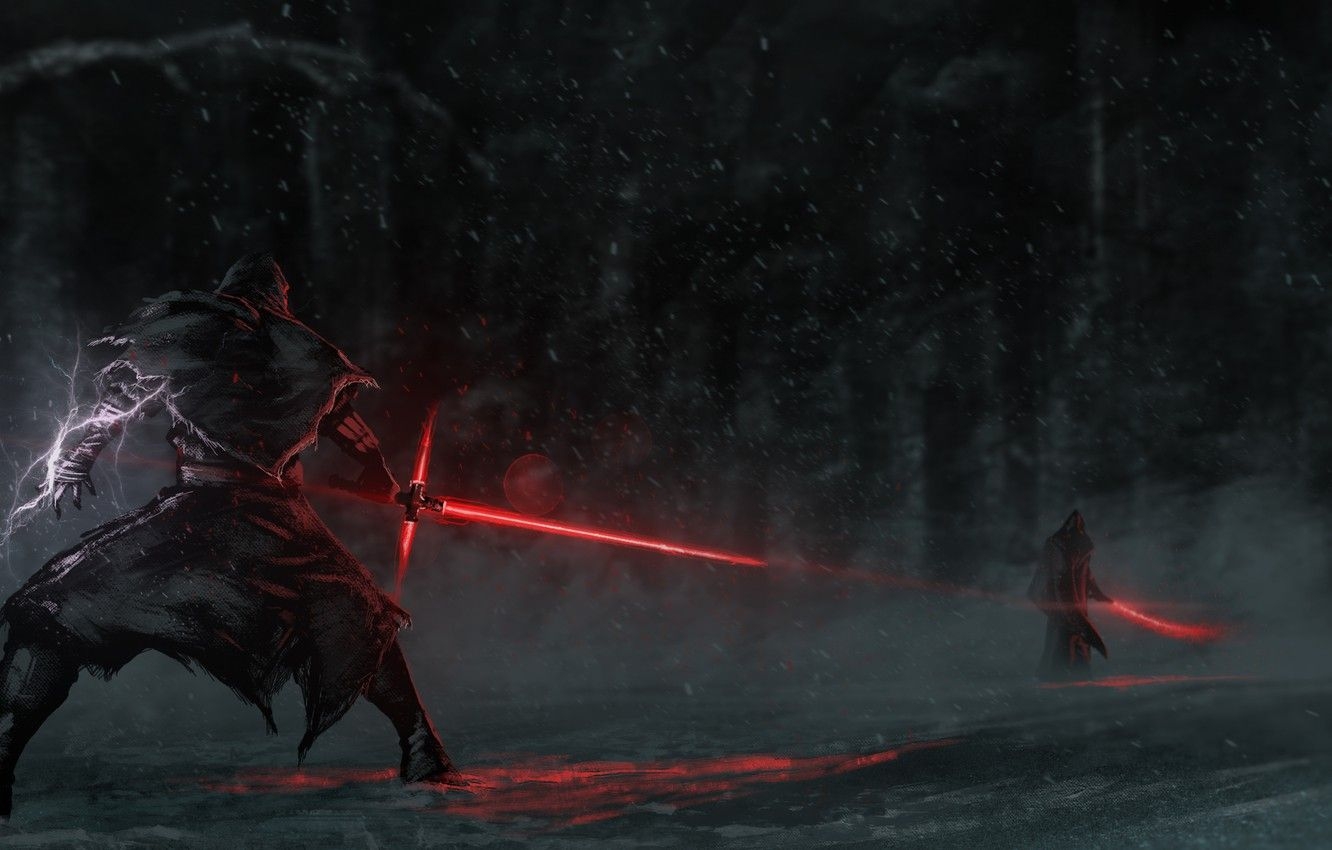 Wallpapers battle, hood, duel, lightsaber, sith, Star Wars: The Force Awakens, Star wars: the force awakens, jadi image for desktop, section фильмы