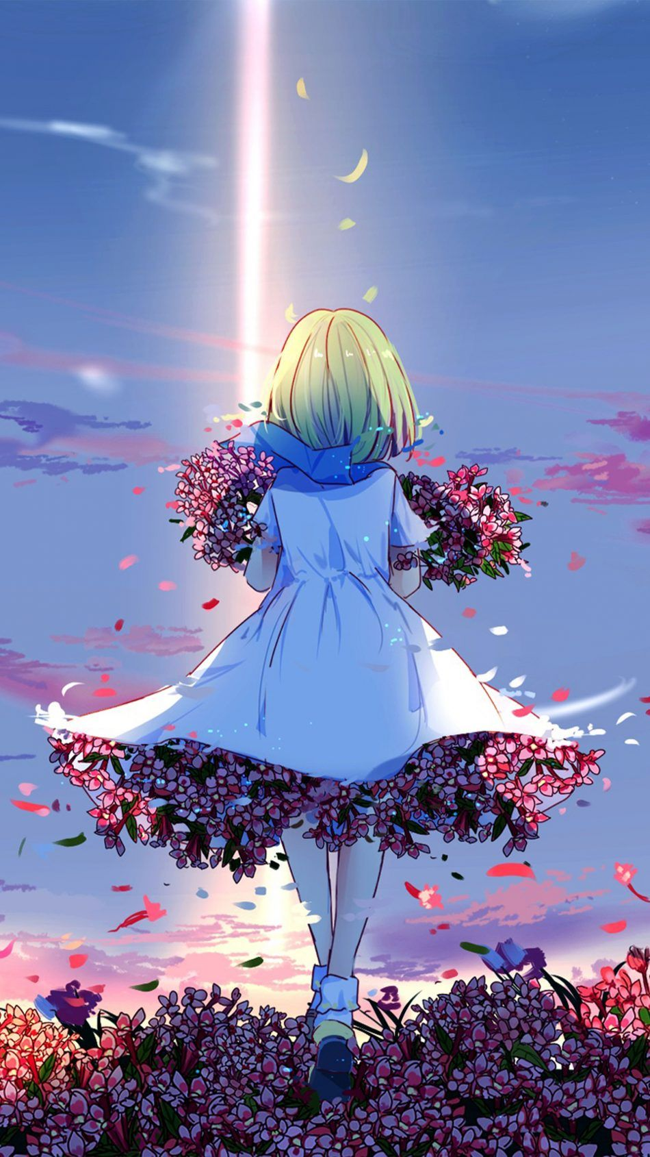 Anime Girl Spring Flowers 4k Ultra Hd Mobile Wallpapers