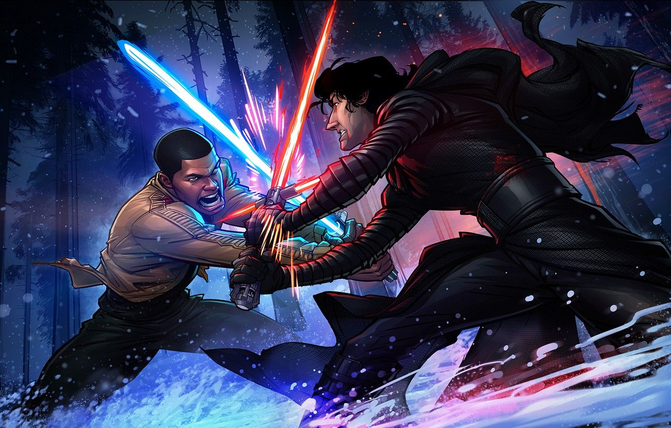 Wallpapers Forest, duel, Star wars, Star wars, lightsabers, Patrick Brown, Patrick Brown, Finn, Finn, The force awakens, Kylo Ren, Kyle Wren, Force awakense image for desktop, section фильмы
