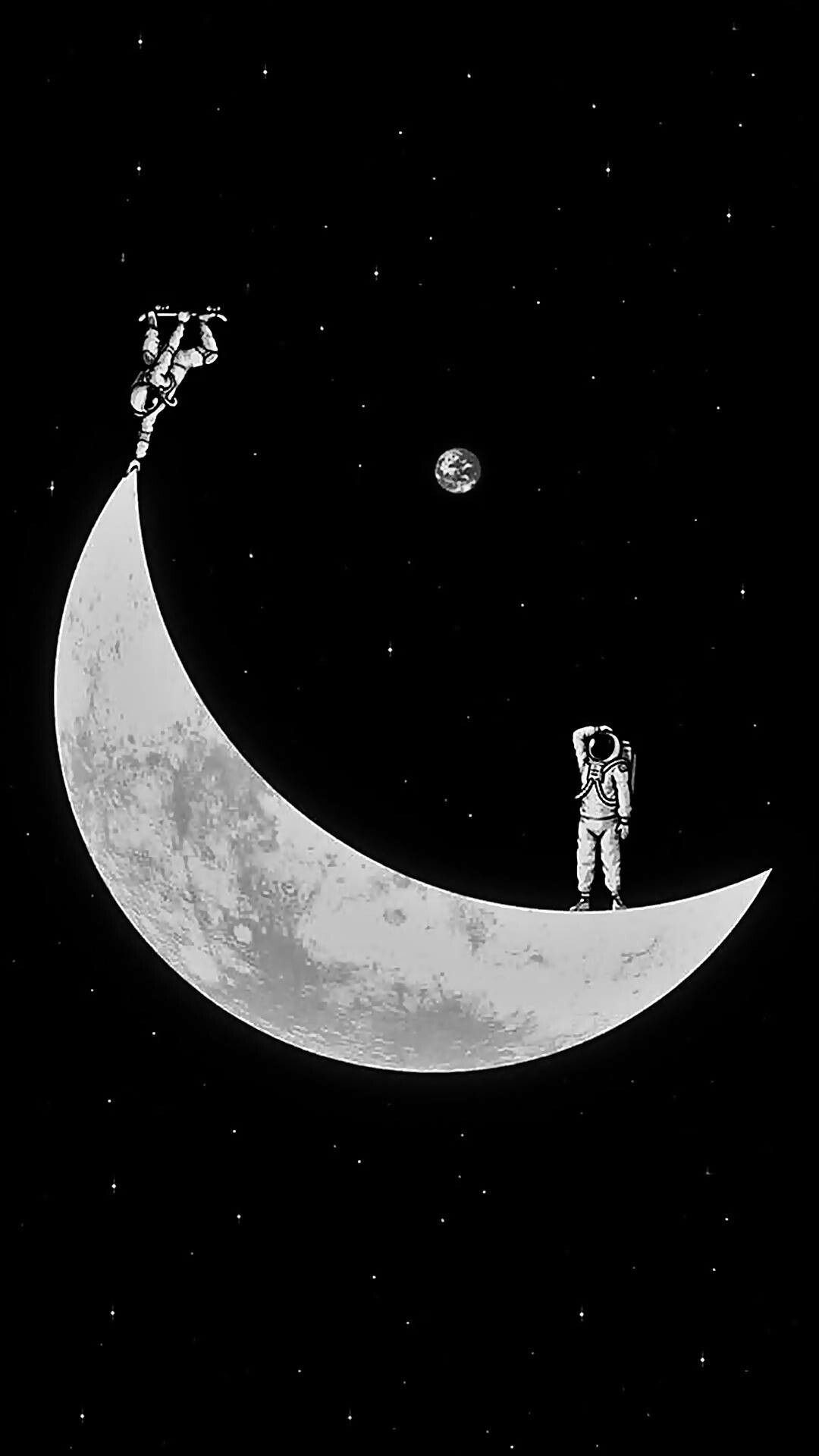 Free download space astronaut skate moon Wallpapers space Android wallpapers [1080x1920] for your Desktop, Mobile & Tablet