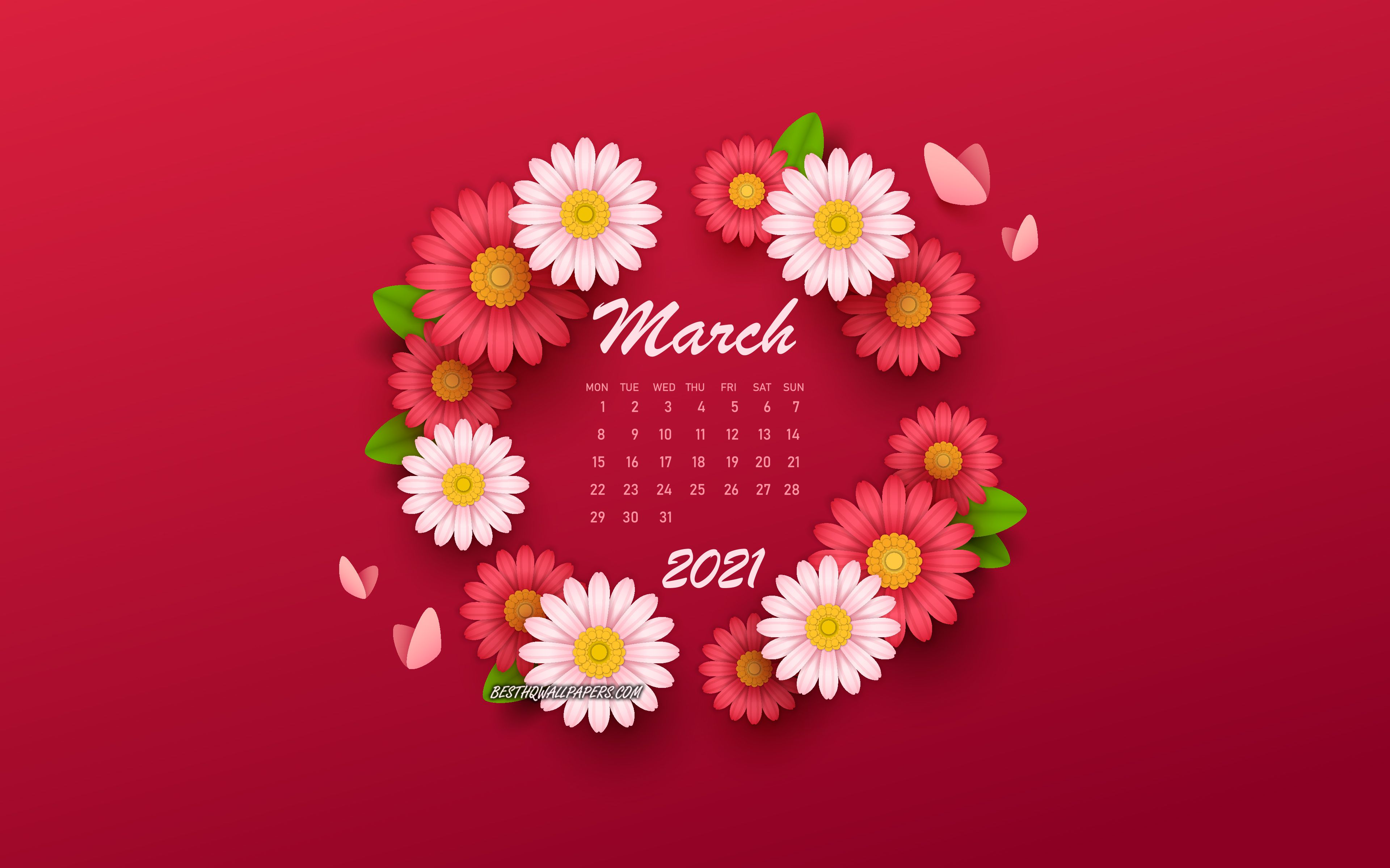 Download wallpapers 2021 March Calendar, backgrounds with flowers, spring flowers, 2021 spring calendars, March, 2021 calendars, March 2021 Calendar for desktop with resolution 3840x2400. High Quality HD pictures wallpapers