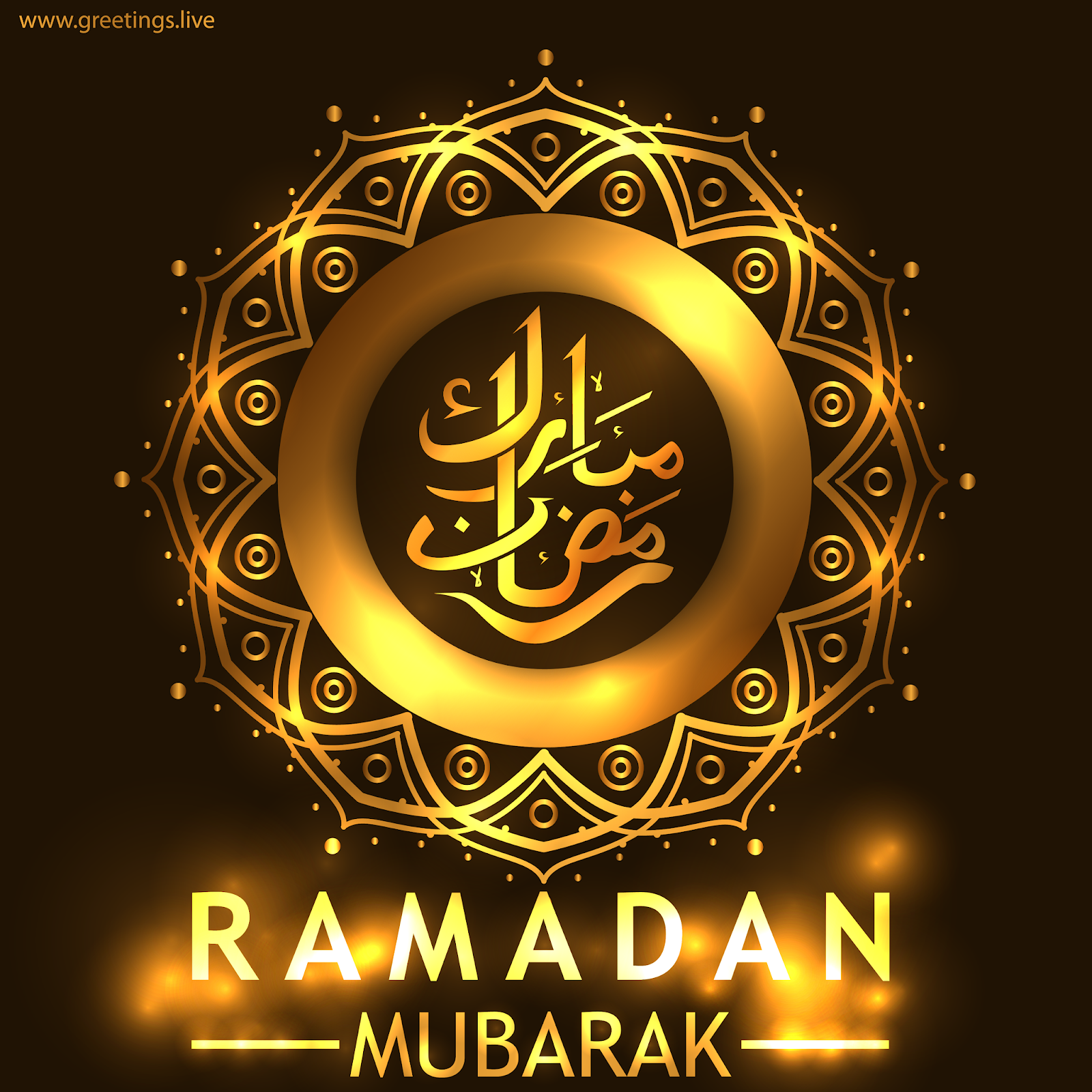 Greetings.Live*Free Daily Greetings Pictures Festival GIF Image: Beautiful golden ramadan Mubarak HD Image 2019