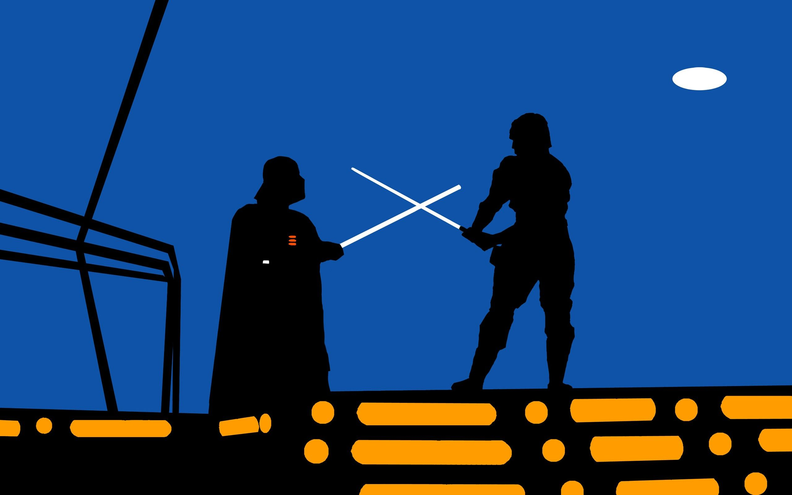 Star Wars, Minimalism, Darth Vader, Luke Skywalker, Fighting, Lightsaber Wallpapers HD / Desktop and Mobile Backgrounds