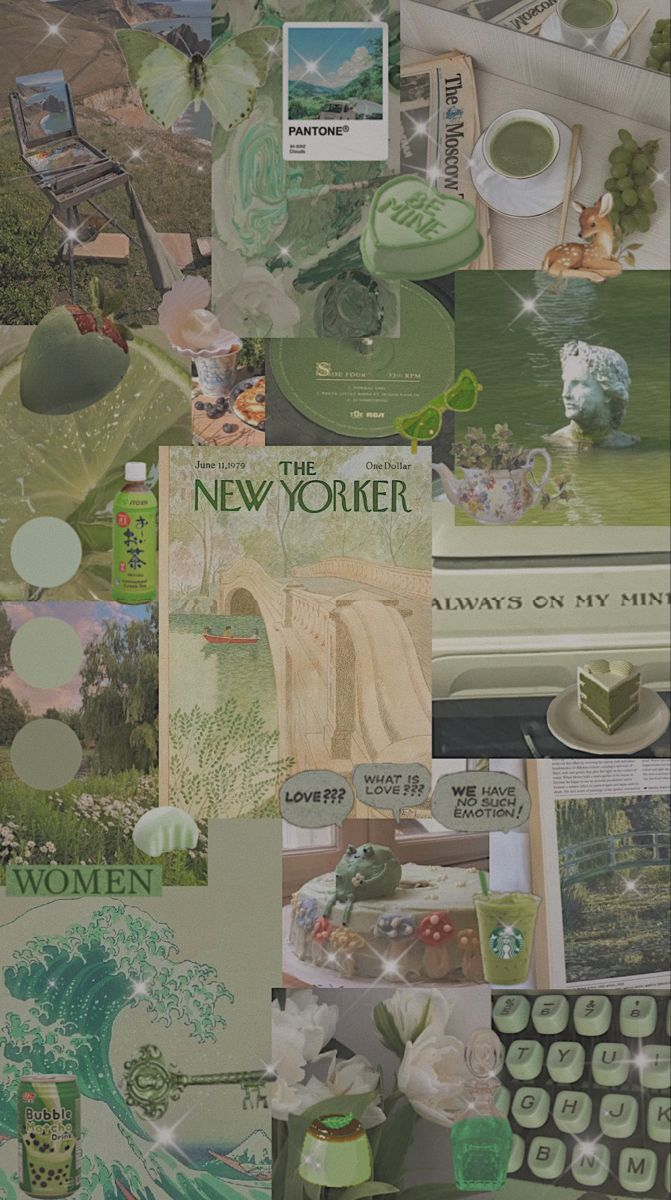Sage Green Collage Wallpapers Wallpaper Cave