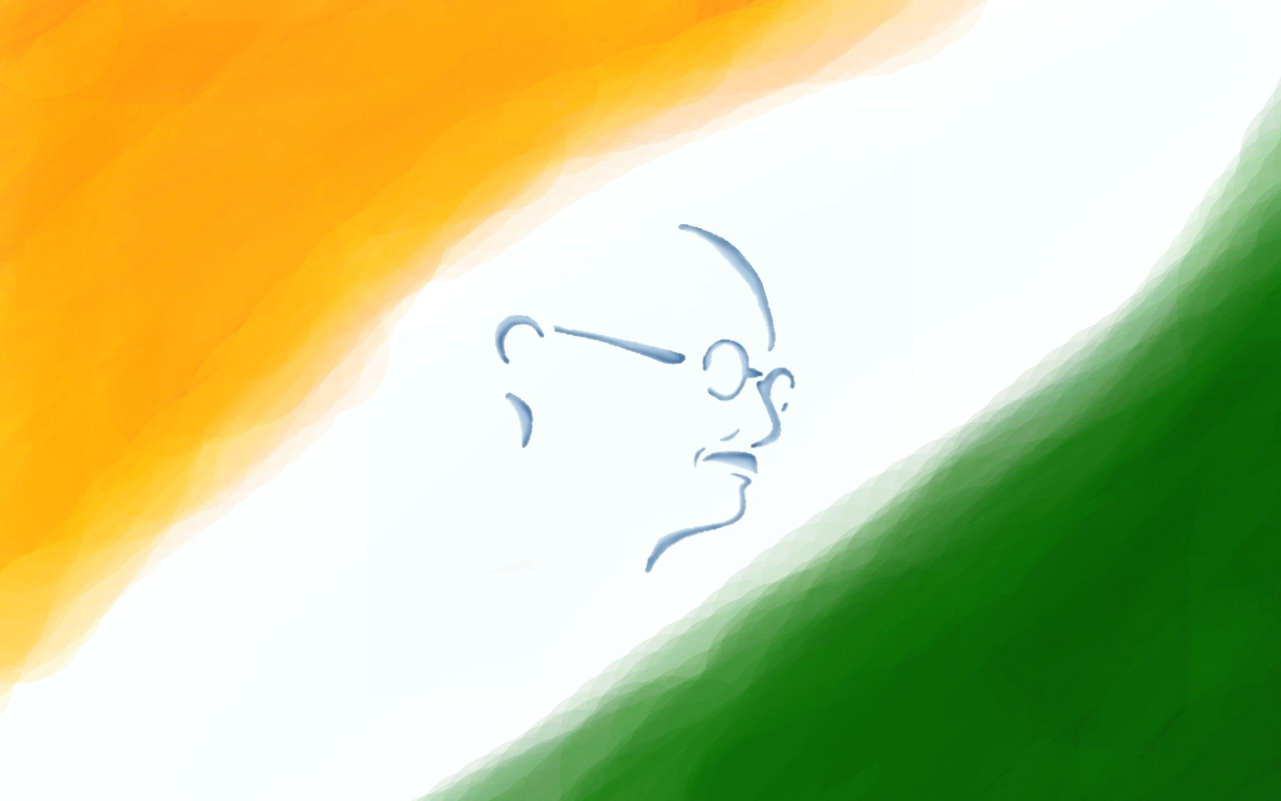 Gandhi Ji With Indian Flag Hd: Indian Independence Day HD Wallpapers 2015