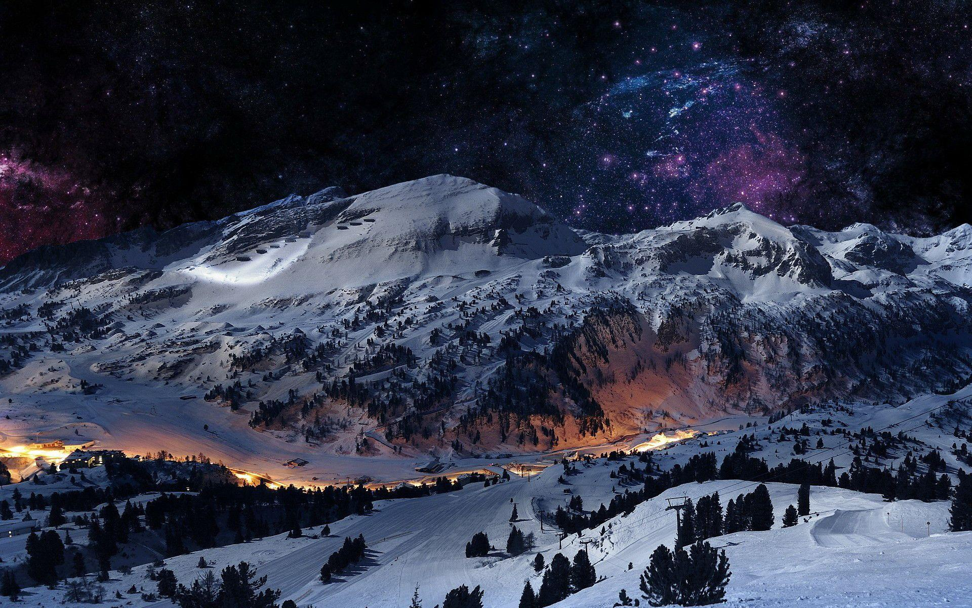 Snowy Mountain Night Wallpaper