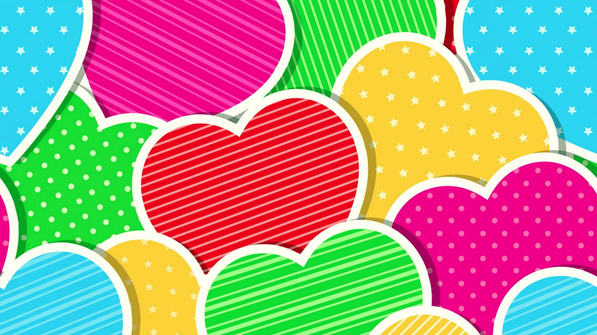 Colorful hearts wallpapers wallpaper cave for Colourful wallpaper for walls