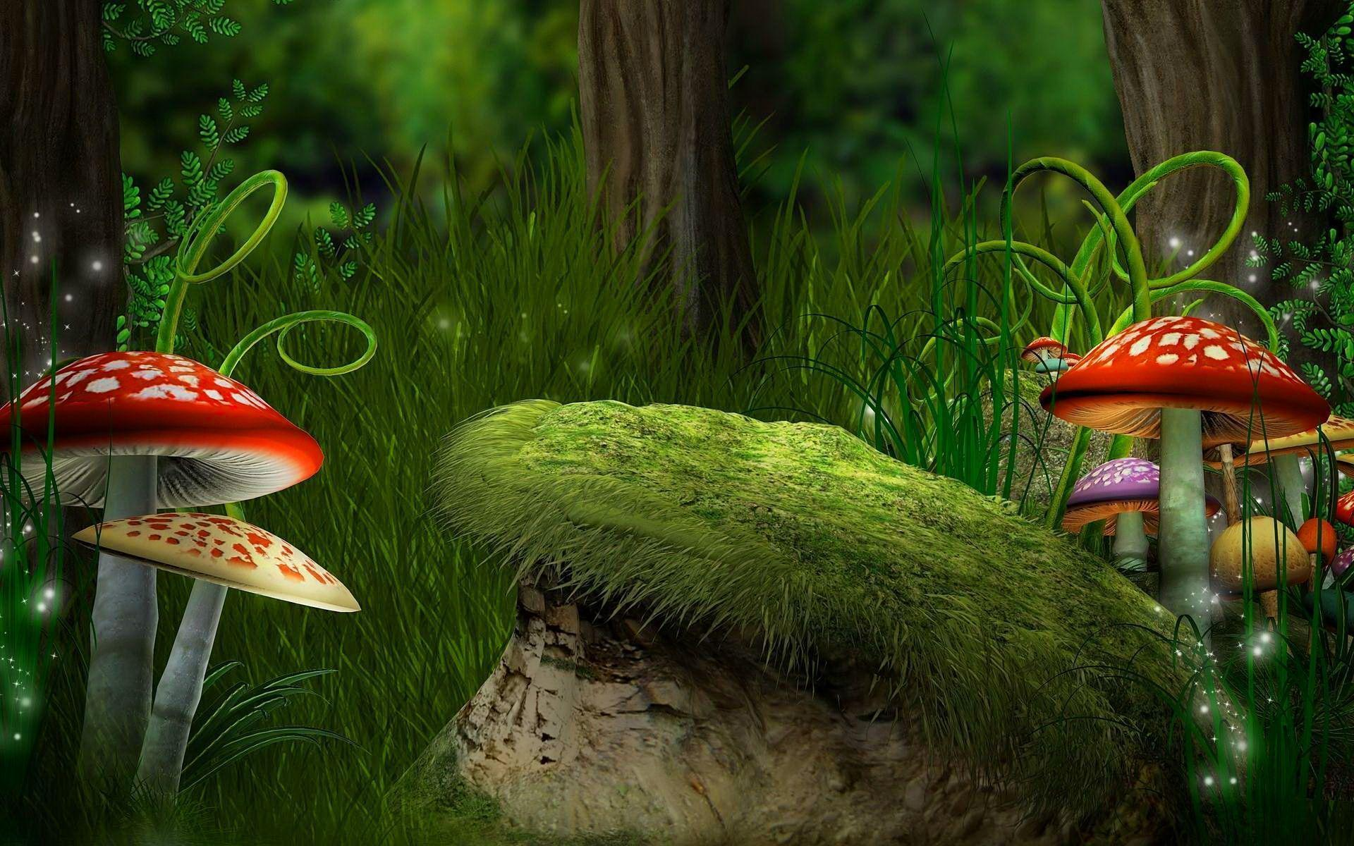 Fantasy forest wallpapers wallpaper cave - Mushroom 3d wallpaper free download ...
