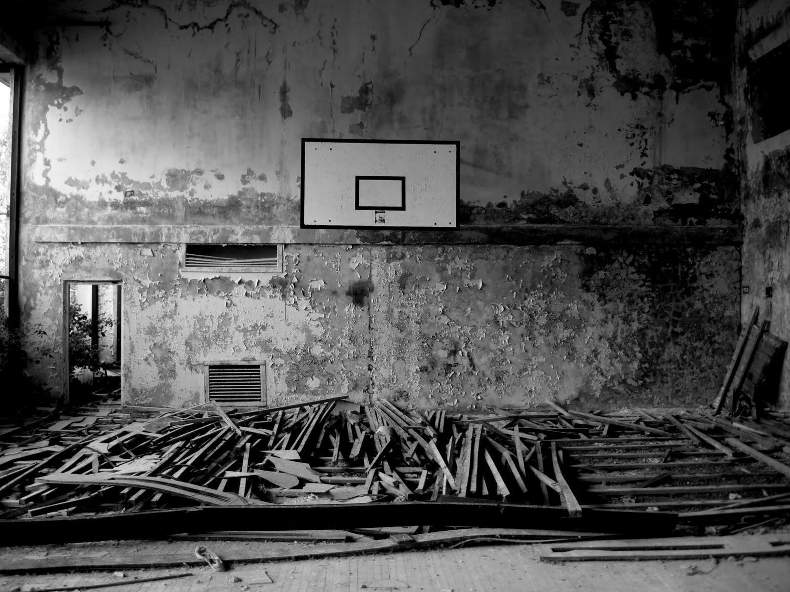 basketball court black and white photography