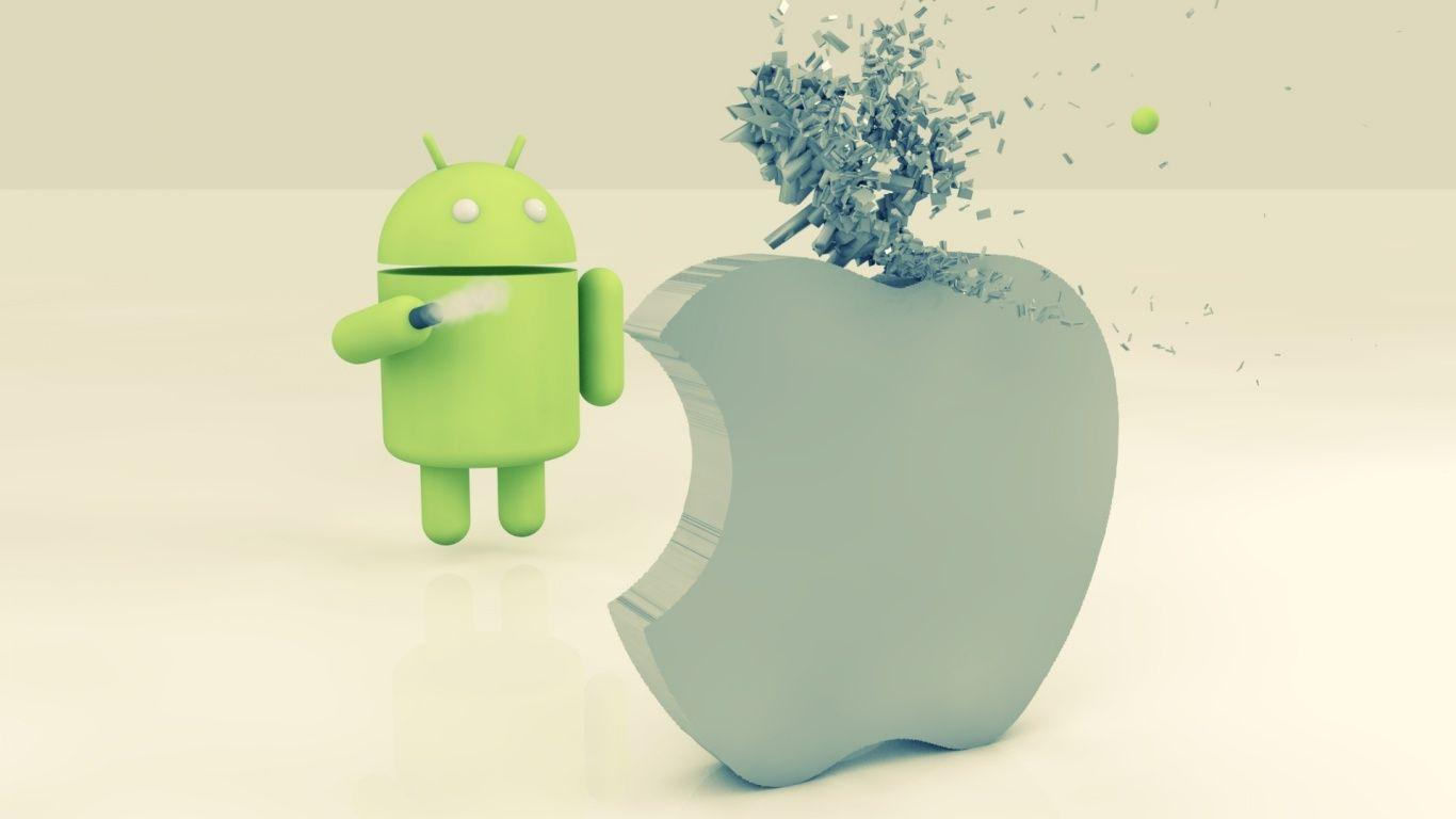 1366x768 Apple vs Android desktop PC and Mac wallpapers