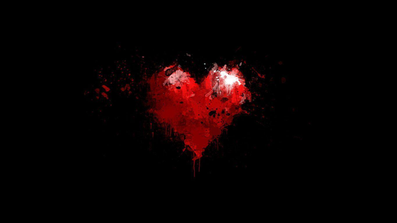 Painted Red Heart on Black Background widescreen wallpaper | Wide-