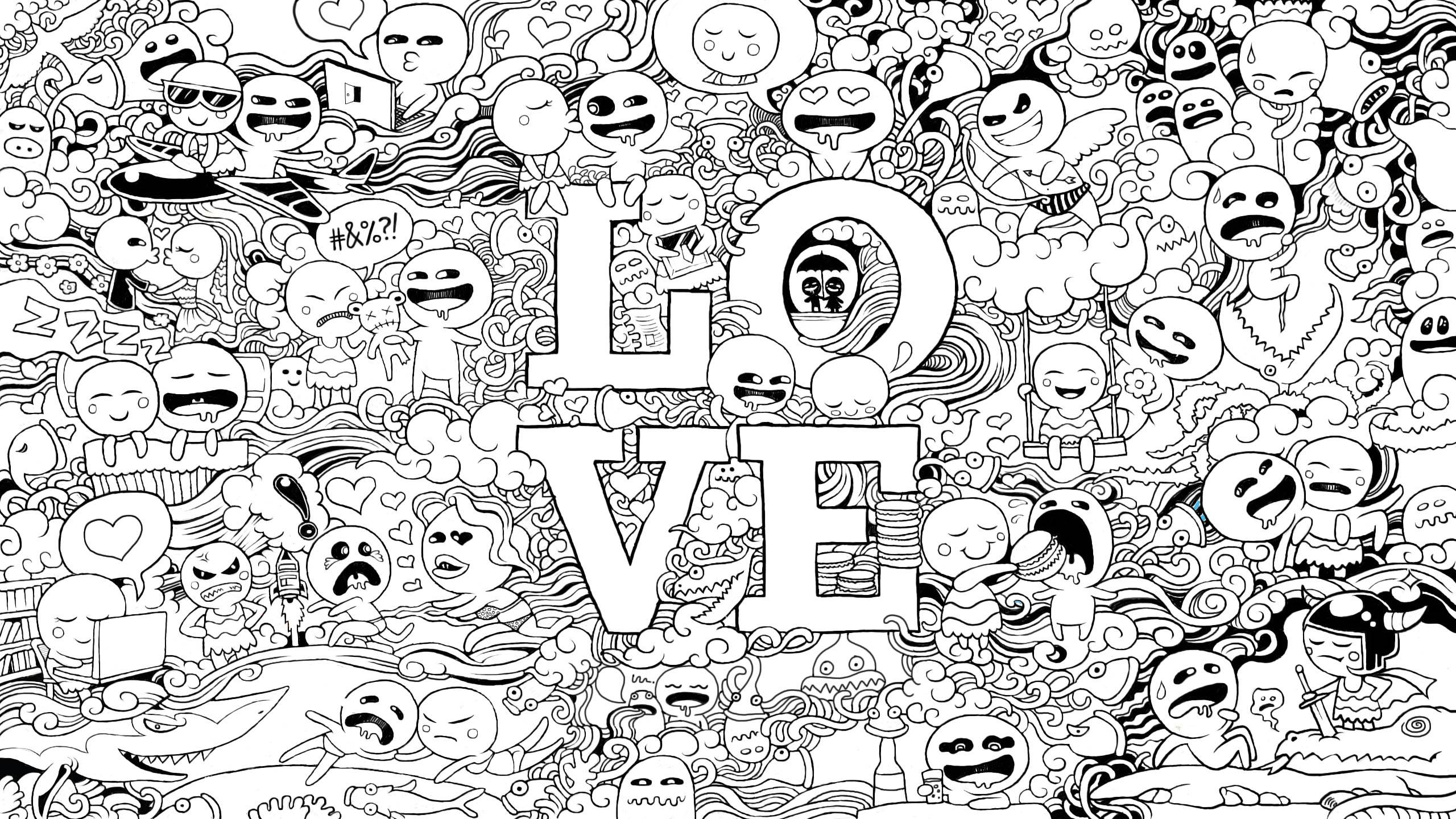 Wallpaper Freebie For February 2013 LOVE Doodles You The Designer
