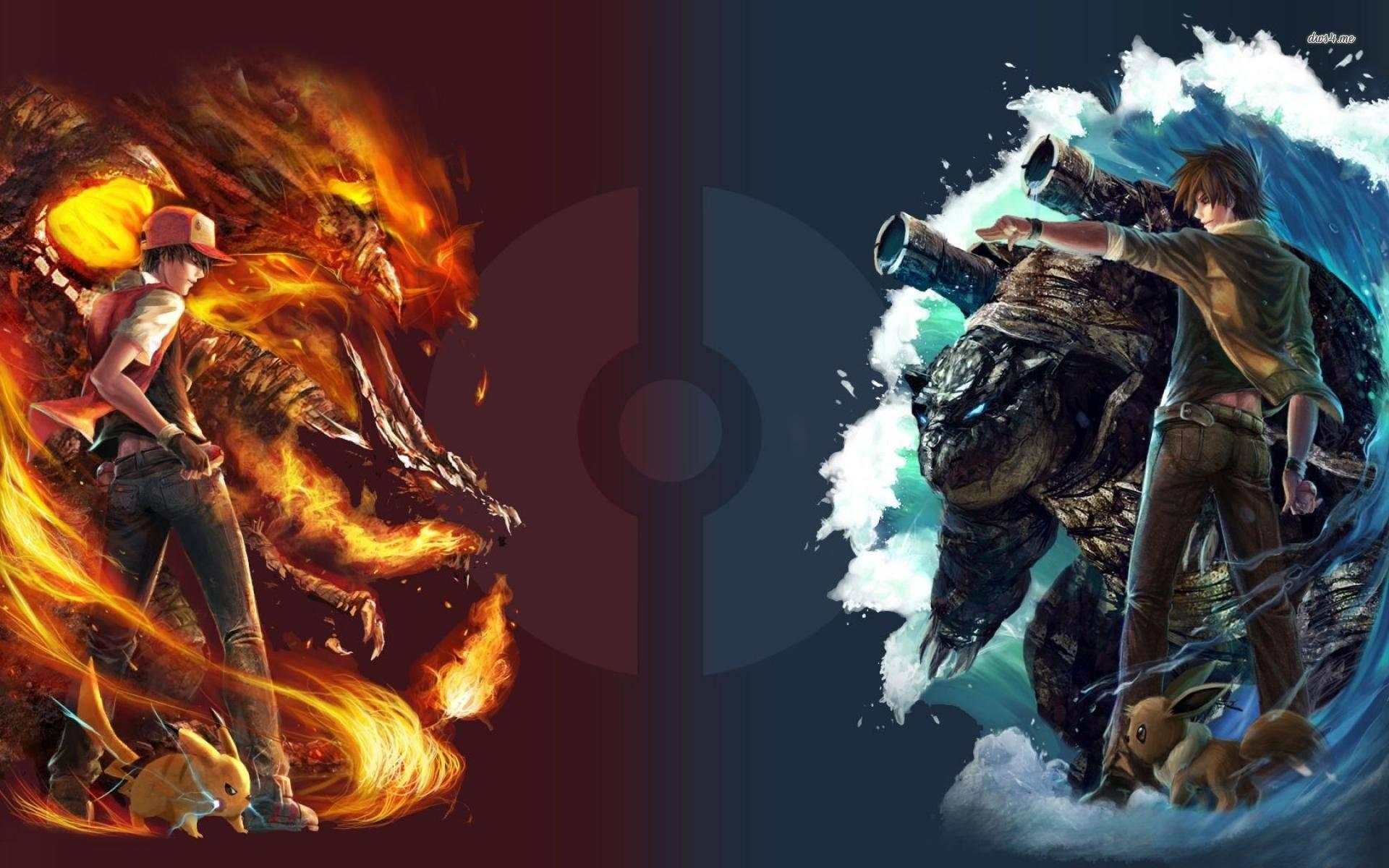 red vs blue - Pokemon Wallpaper