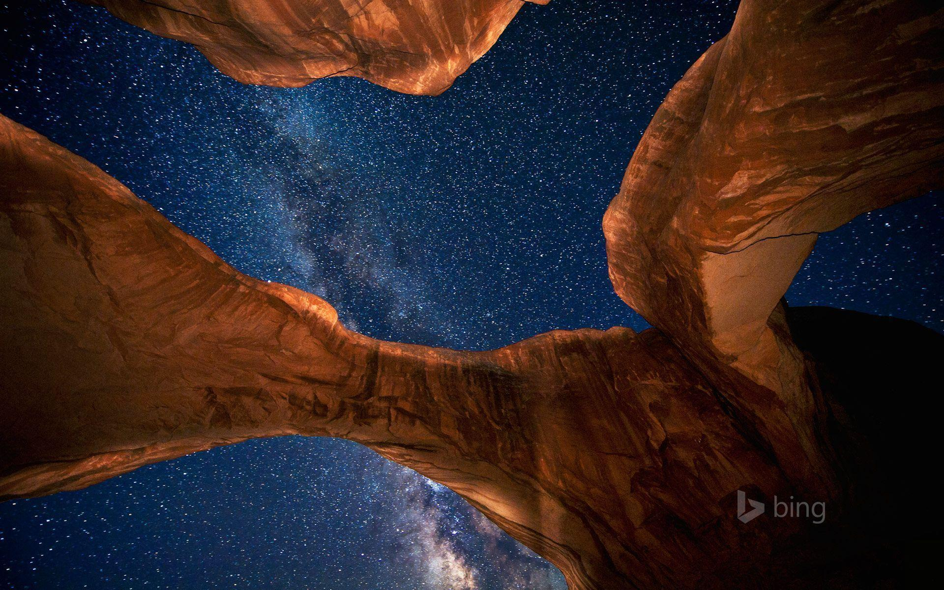 Milky Way above Double Arch in Arches National Park, Utah