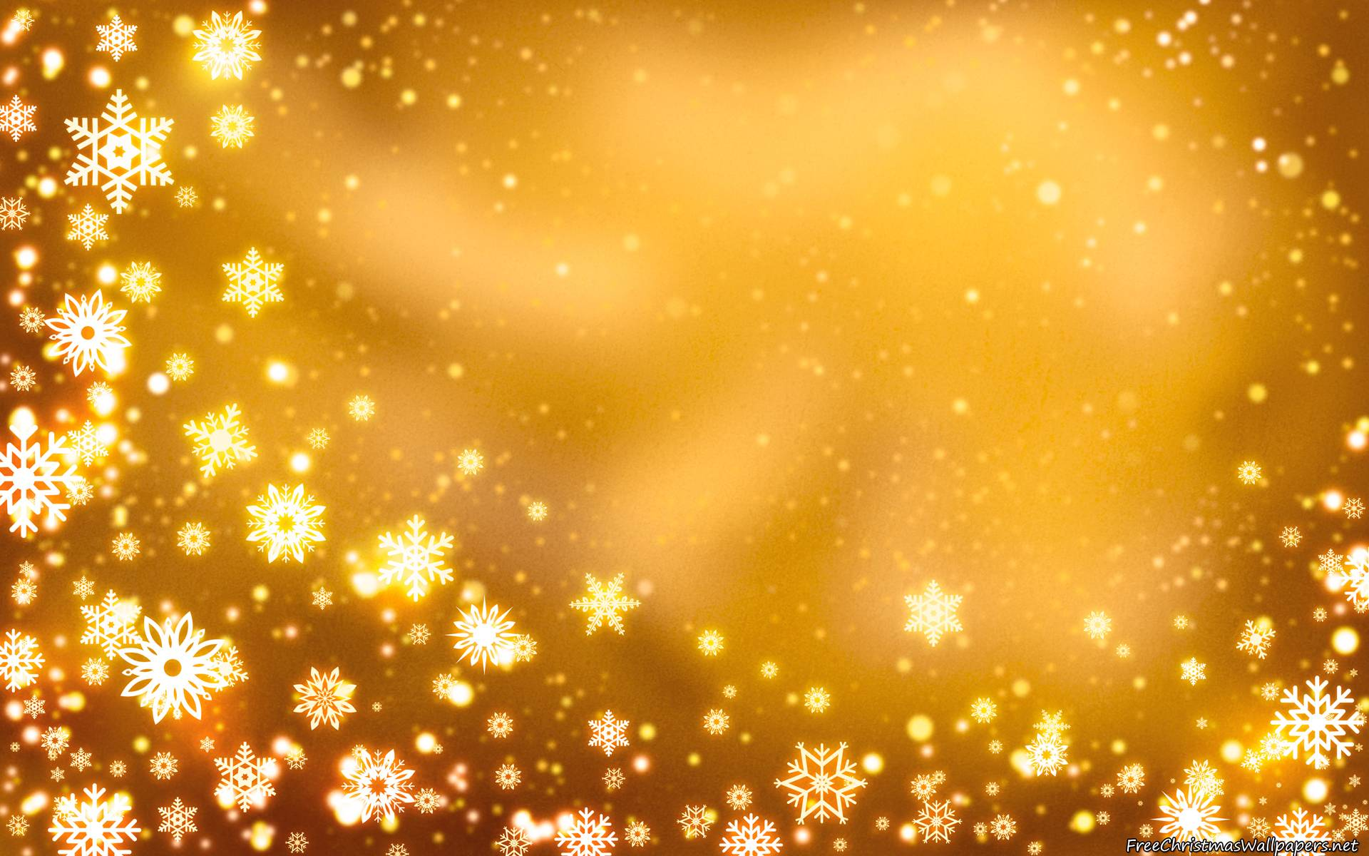 Yellow Christmas Backgrounds with Snowflakes Wallpapers