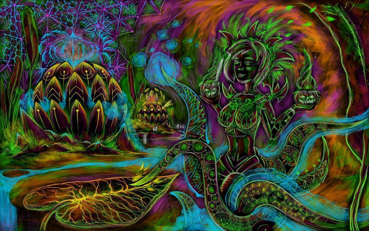 Cyber octopus – free psychedelic art wallpaper