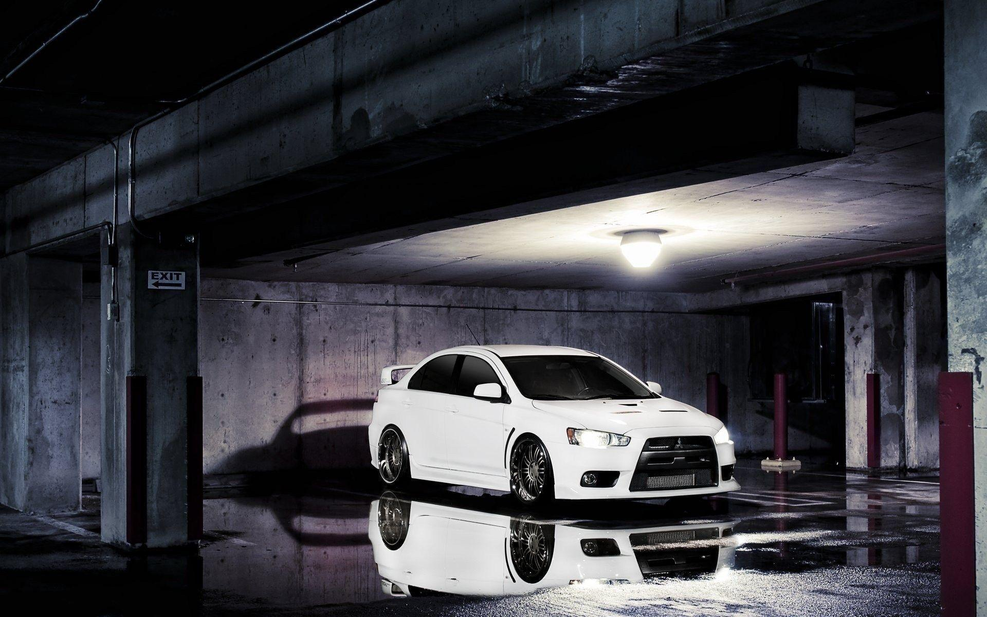 Mitsubishi Lancer Evolution X Parking Water Reflection Floor HD