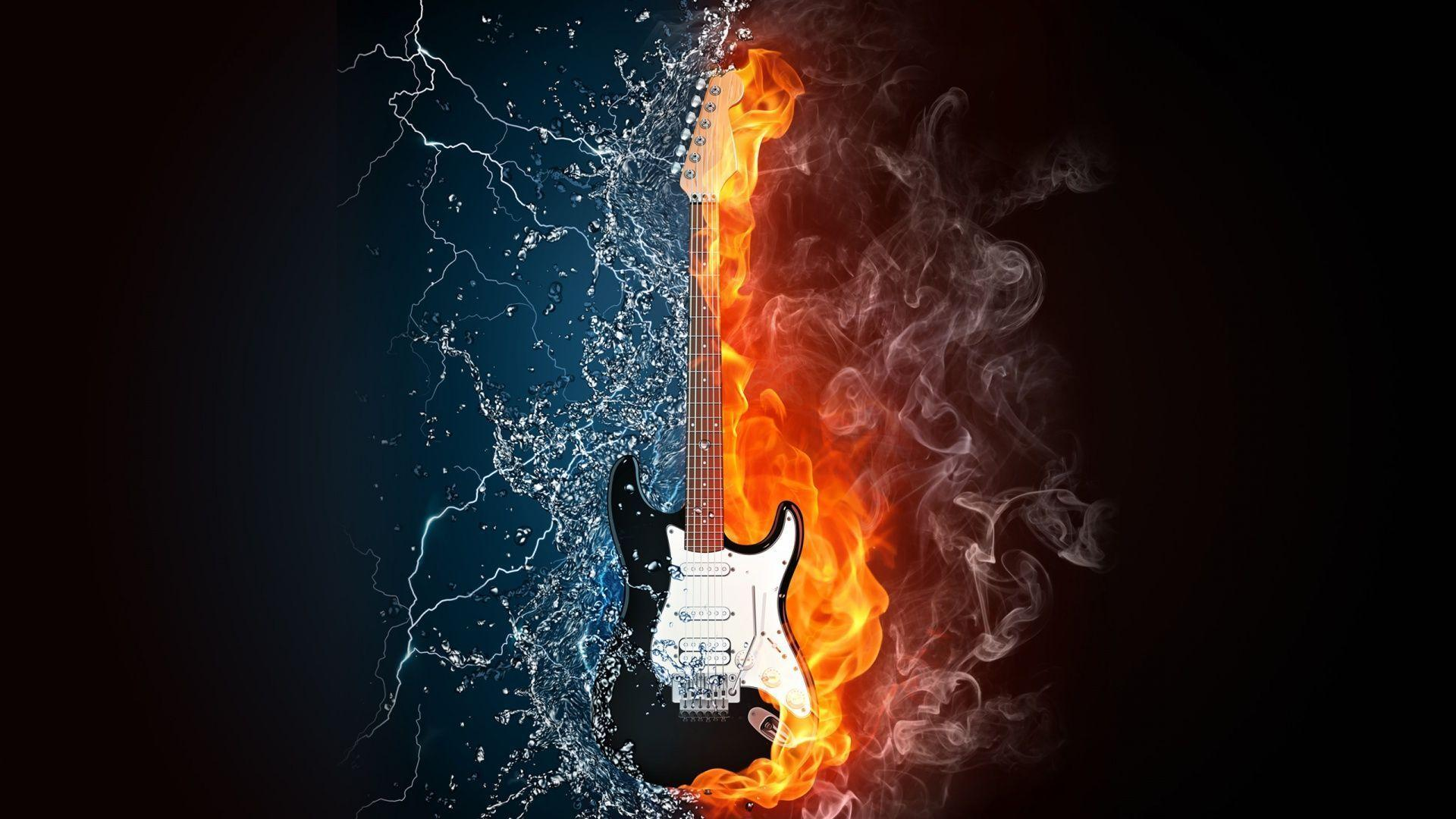 Wallpapers For > Blue Flaming Guitar Wallpaper
