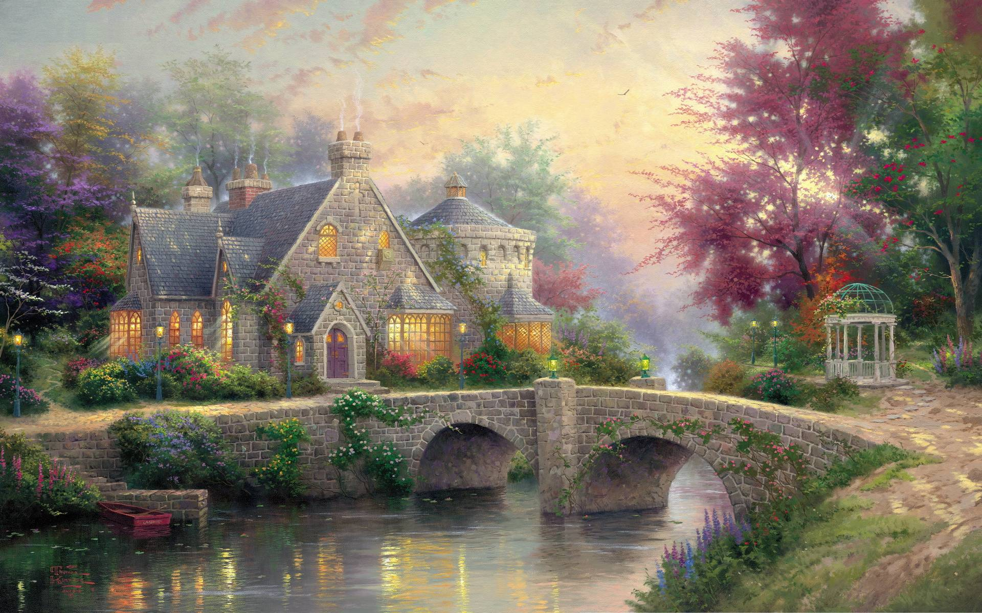 Thomas kinkade christmas backgrounds wallpaper cave for Popular wallpapers for home