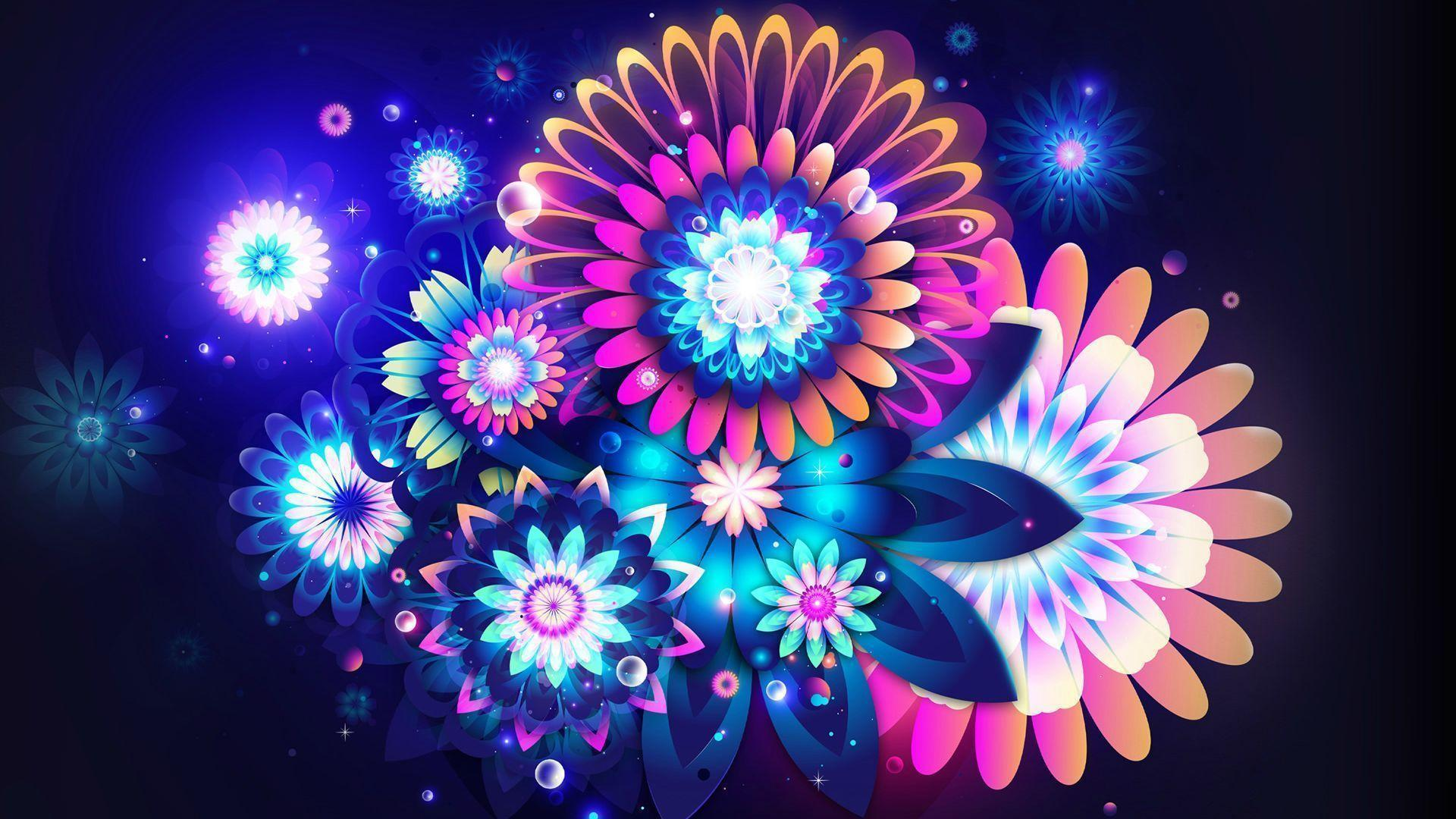 Free Colorful Flower Desktop Wallpaper: Neon Color Wallpapers