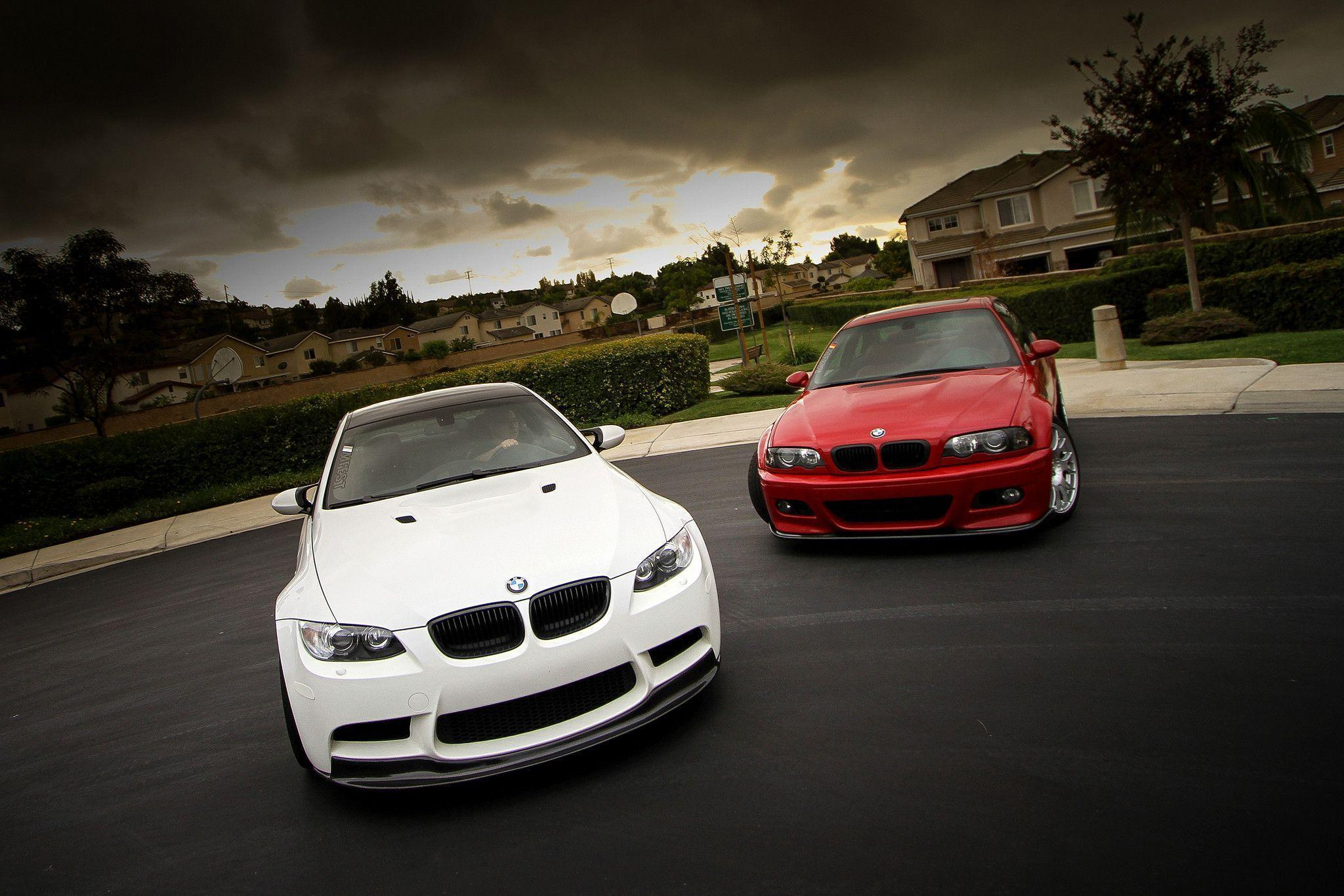 Wallpapers bmw, m3, e46, e92, red, white, bmw, white, red, front