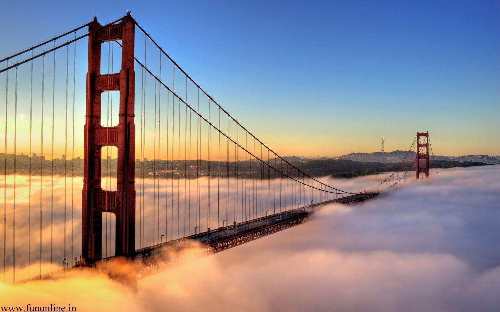 Foggy Sunrise at Golden Gate Bridge Wallpapers