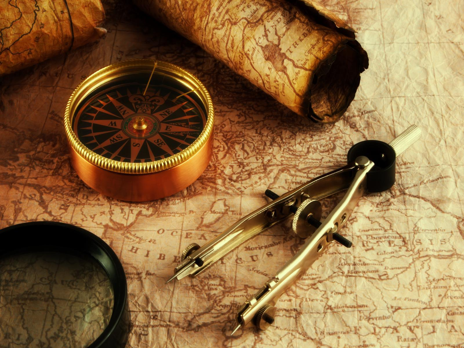 Compass Pointing East Tattoo Vintage Map Wallpapers...