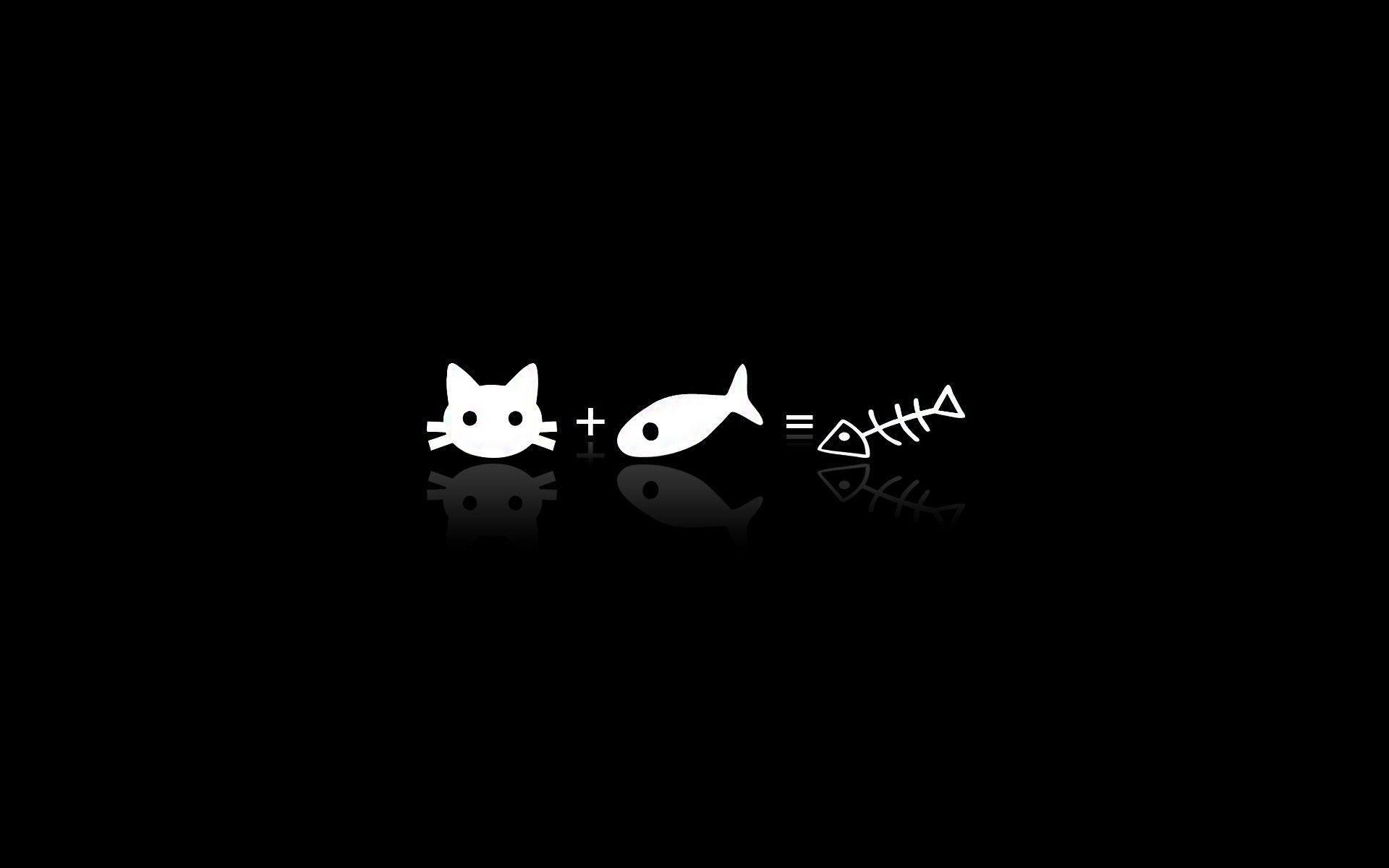 Vector Cat Fish Black White HD Wallpapers