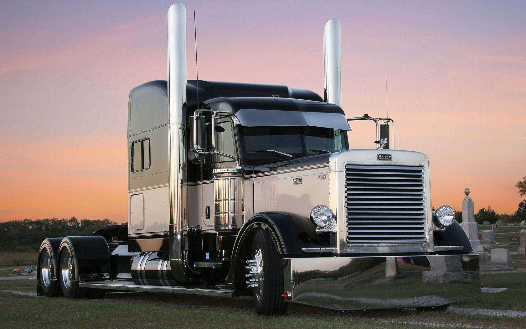 Two Tone Pete Peterbilt Big Rig 18wheeler wallpaper #