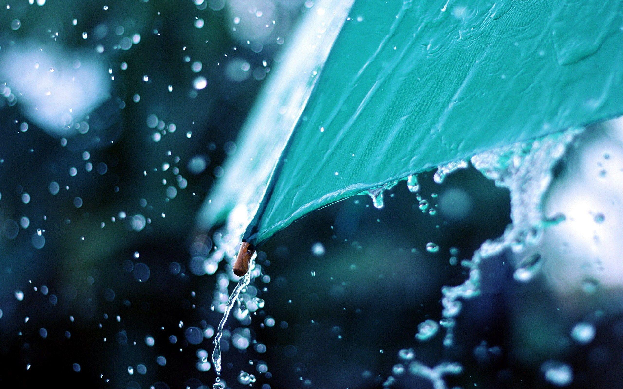 Water Flows From Umbrella Rain HD Wallpapers