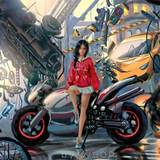 Girl Motorcycle Streets Art Wallpapers
