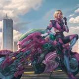 Cyberpunk Girl Futuristic Motorcycle Wallpapers